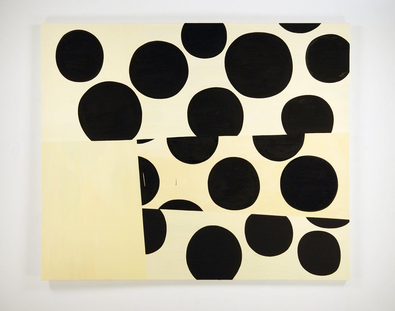 Elizabeth McIntosh, Untitled (Black Dots on Swatches), 2010, oil on canvas, 75 x 90 in. (191 x 229 cm) by Elizabeth McIntosh