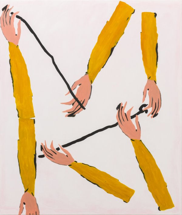 Elizabeth McIntosh, Hands Arms, 2016, flashe and oil on canvas, 69 x 58 in. (173 x 147 cm)