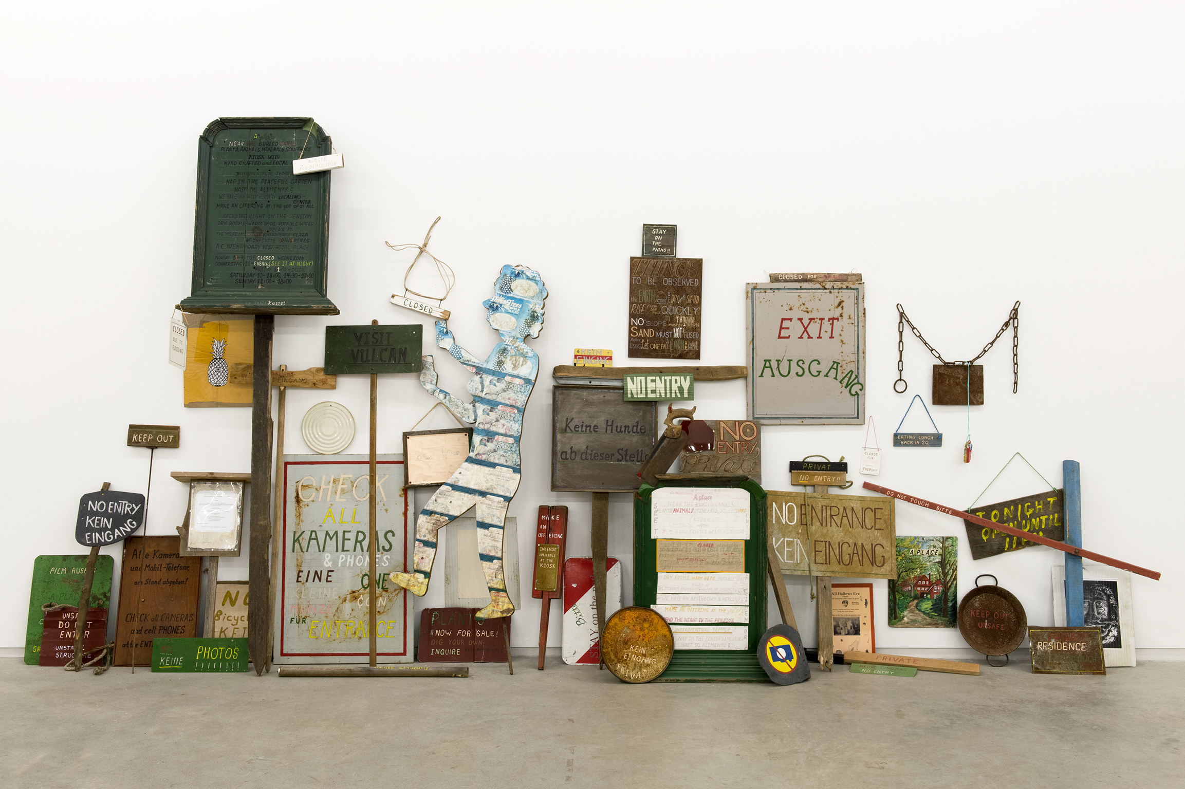 Gareth Moore, From a place, near the buried canal, 2011–2012, wood, steel, rope, stone, paper, acrylic and enamel paint, felt marker, 93 x 166 x 17 in. (236 x 422 x 42 cm)   by