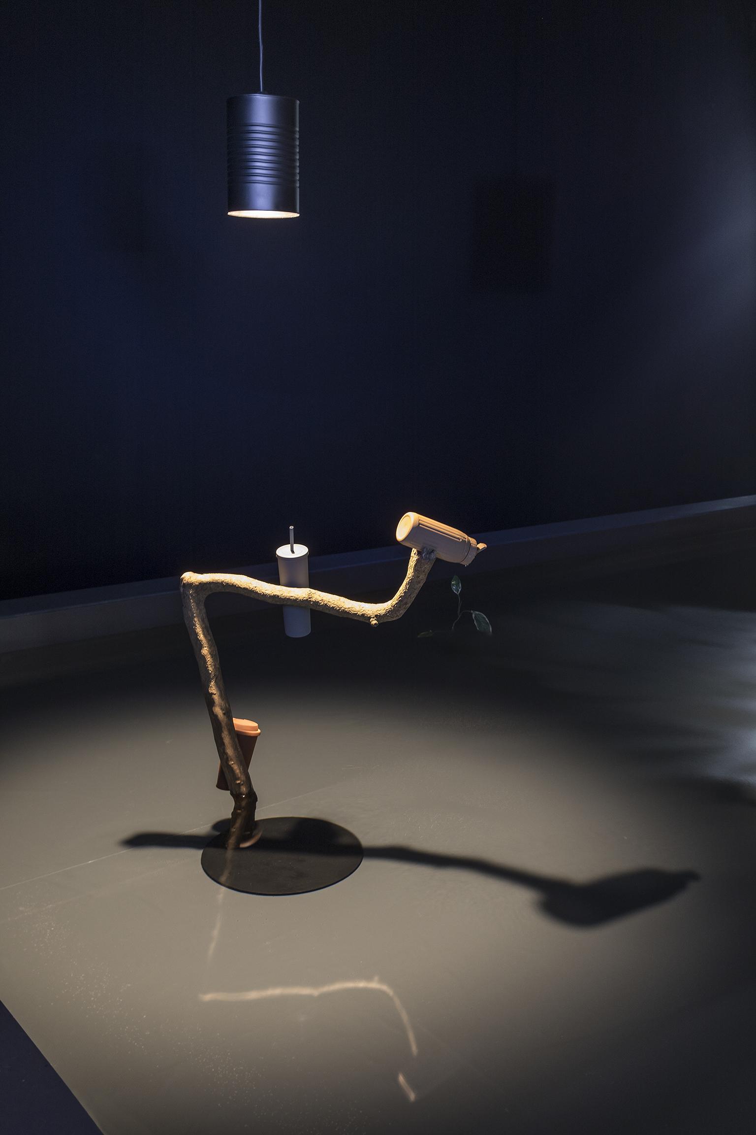 Gareth Moore, Broken Fountain (Constantly Emitting), 2017, branch, plastic, paint, 39 x 18 x 34 in. (98 x 46 x 61 cm). Installation view, A Dark Switch Yawning..., Salzburger Kunstverein, Salzburg, 2017 by