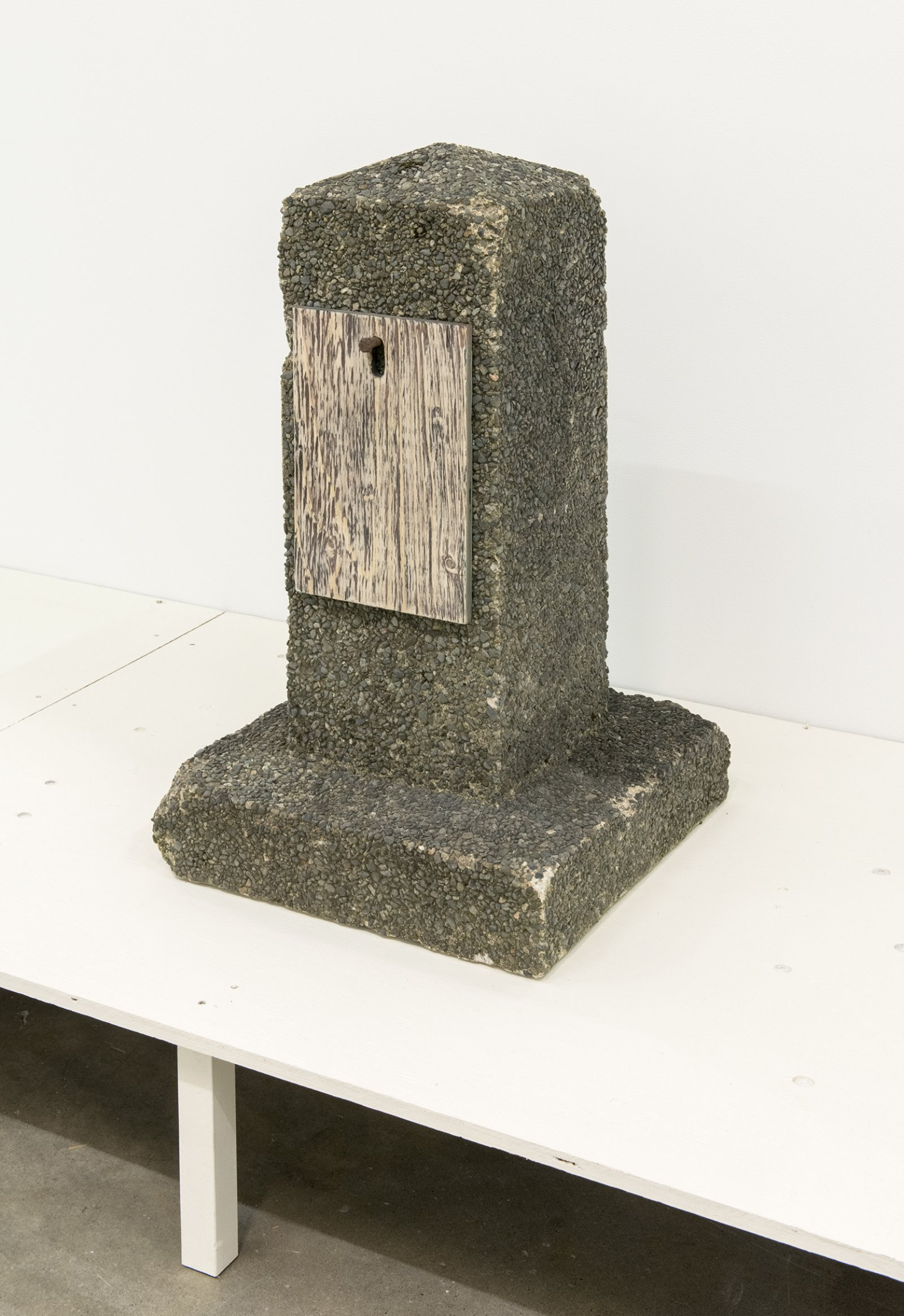 Gareth Moore, AC-01 WP, 2013, aggregate, concrete, steel, wood, paint, 31 x 18 x 18 in. (79 x 46 x 46 cm)   by Ashes Withyman