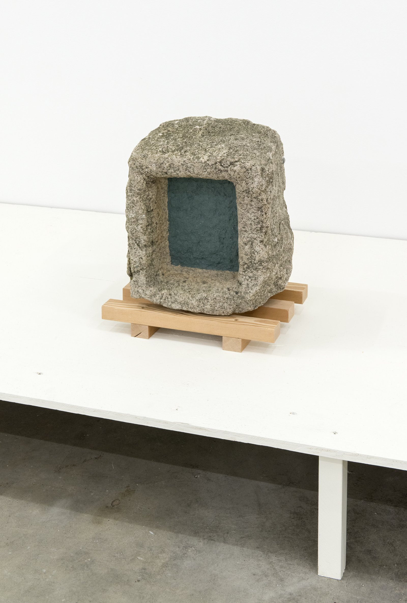 Gareth Moore, Antique Stone, 2013, painted hand chiseled old stone, 18 x 14 x 9 in. (44 x 36 x 22 cm) by Ashes Withyman