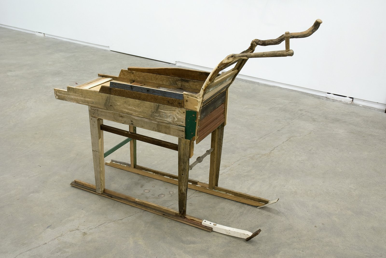 Gareth Moore, Donkey, Sculpture as Companion (With Device to Stop Braying) (from Uncertain Pilgrimage), 2006–2009, found wood, nails, screws, twine, stone, 47 x 56 x 18 in. (119 x 142 x 46 cm) by Gareth Moore