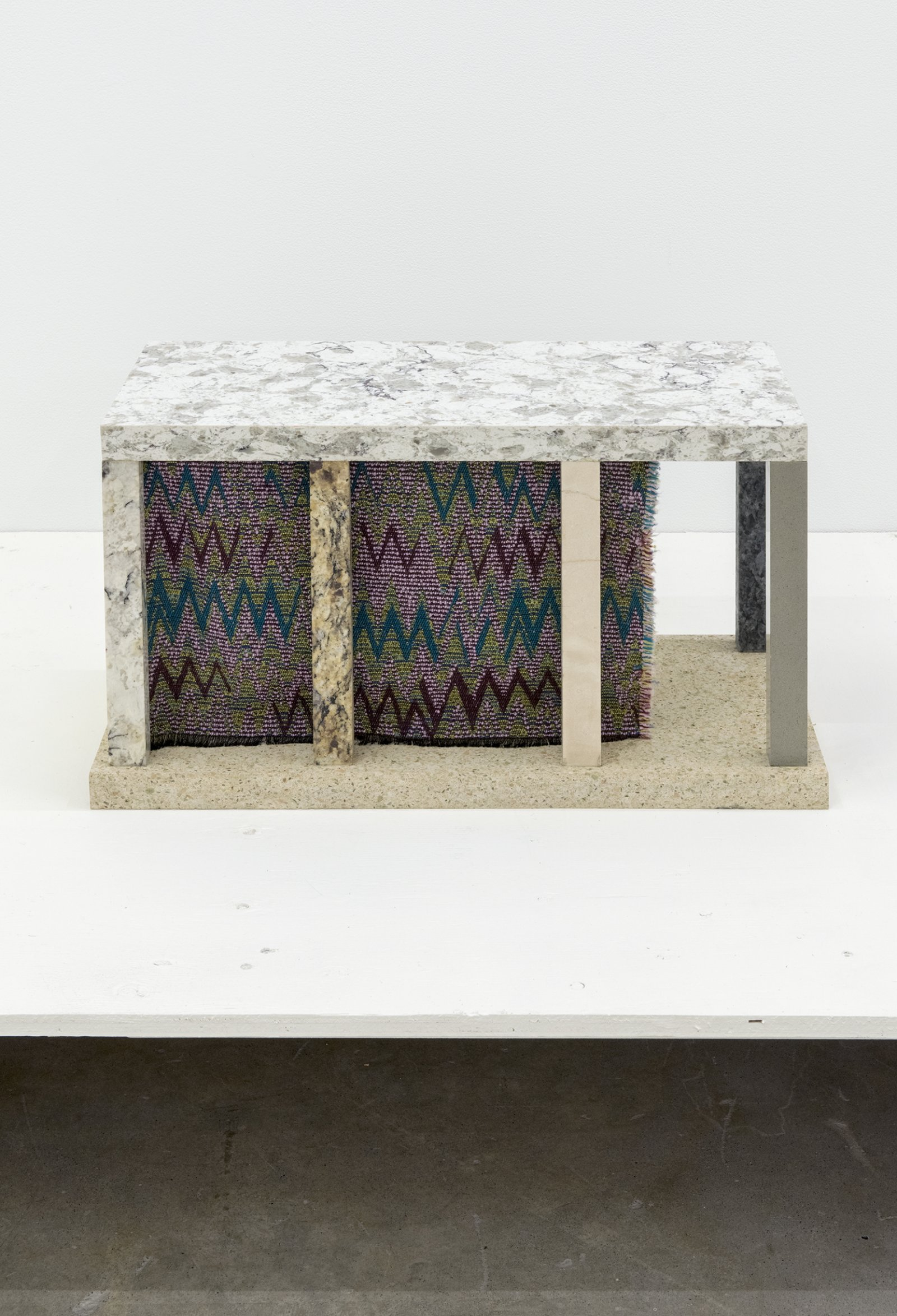 Gareth Moore, Old World CS-01 f, 2013, corian, stone, handkerchief, fabric from Turkish market, 13 x 23 x 11 in. (32 x 58 x 28 cm) by Ashes Withyman