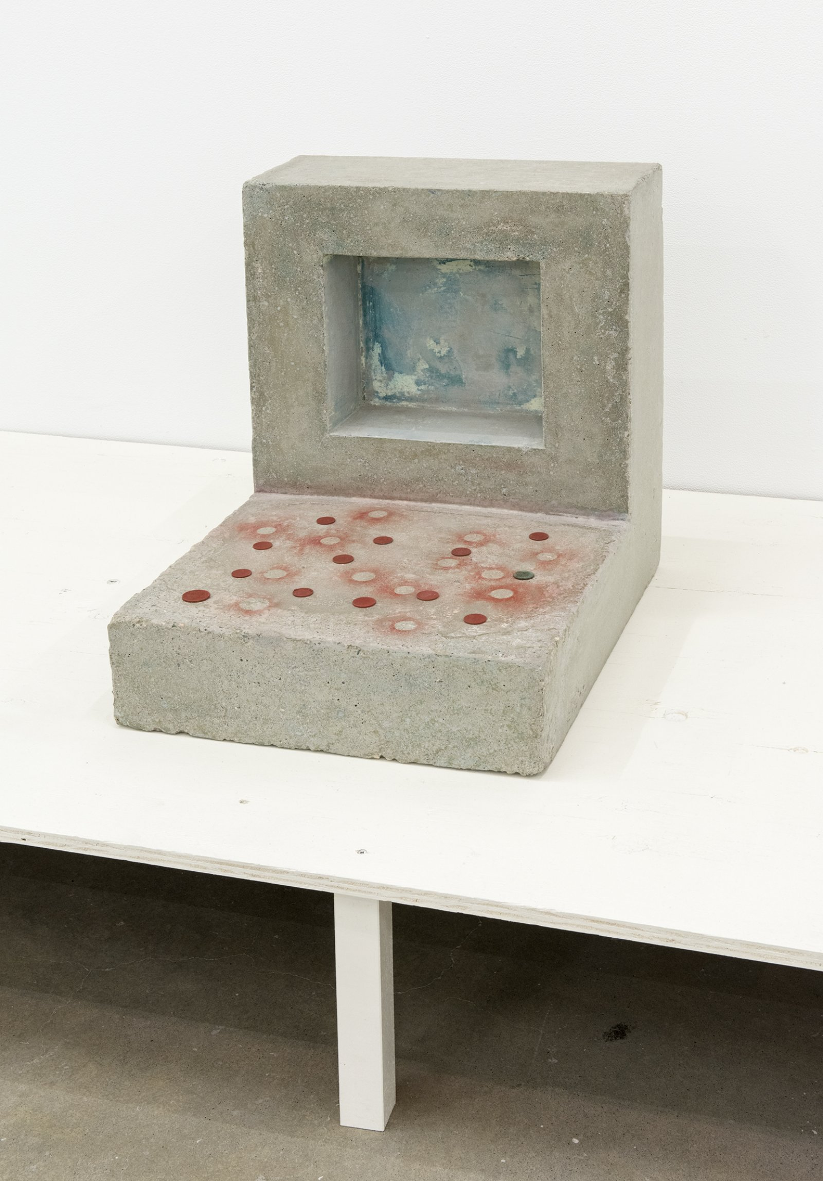 Gareth Moore, PC-01, 2013, concrete, coins, paint, verdigris, 19 x 16 x 20 in. (47 x 41 x 50 cm)   by Ashes Withyman