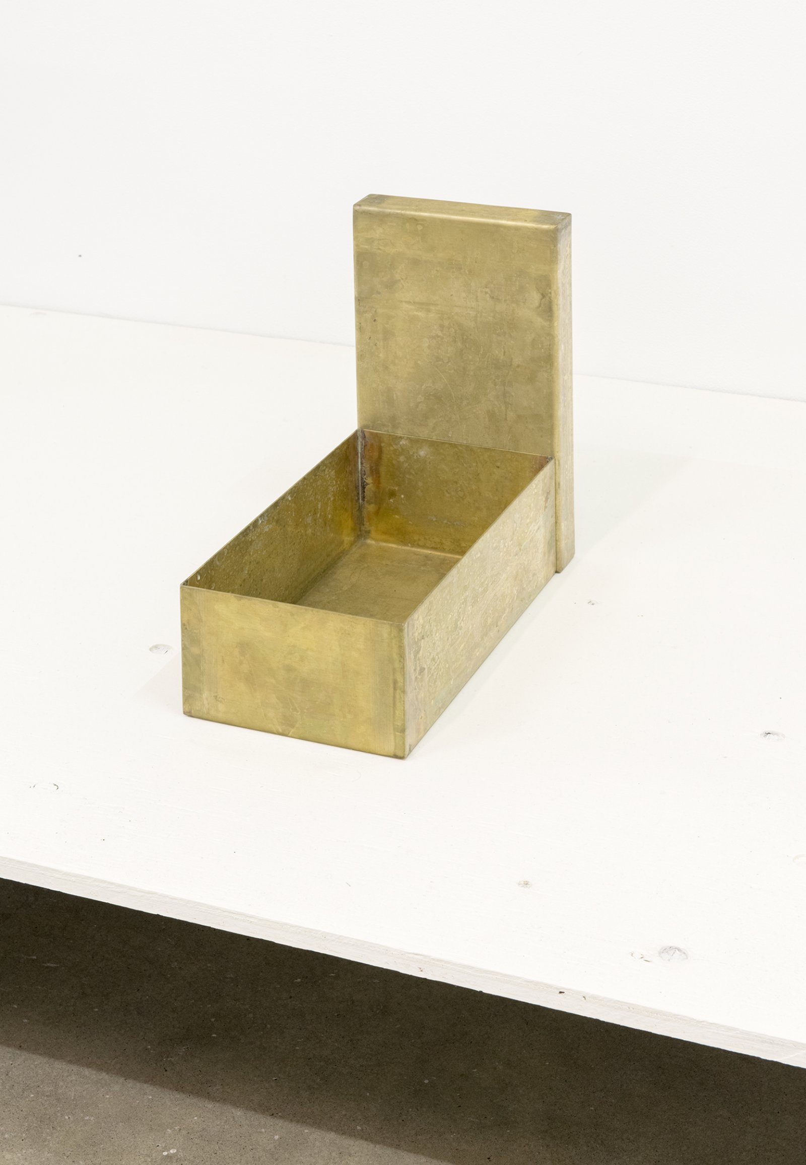 Gareth Moore, Shoebox (Brass), 2013, brass, urine (patina), 12 x 7 x 13 in. (30 x 17 x 34 cm) by Ashes Withyman