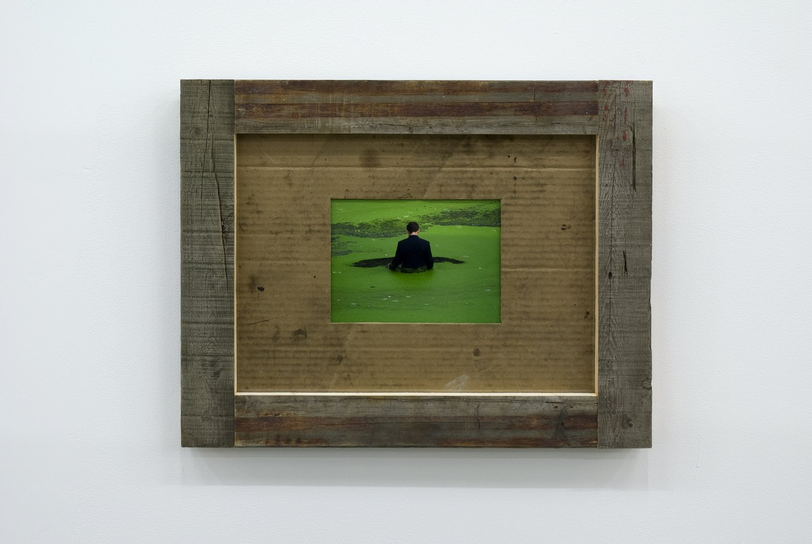 Gareth Moore, Untitled from Uncertain Pilgrimage, 2006-2009, lightjet print, found wood frame, cardboard, 17 x 22 x 2 in. (44 x 55 x 4 cm) by Ashes Withyman