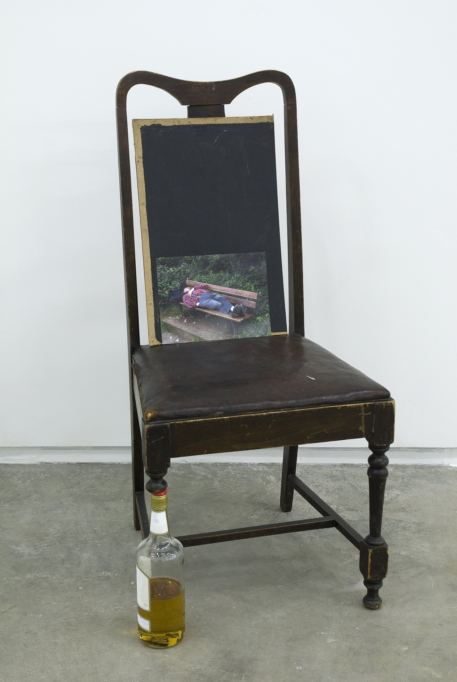 Gareth Moore, Untitled from Uncertain Pilgrimage, 2009, broken chair, whiskey, paint, wood, 'Friend in Theatre, Asleep' lightJet print, 40 x 19 x 18 in. (102 x 47 x 44 cm) by Gareth Moore