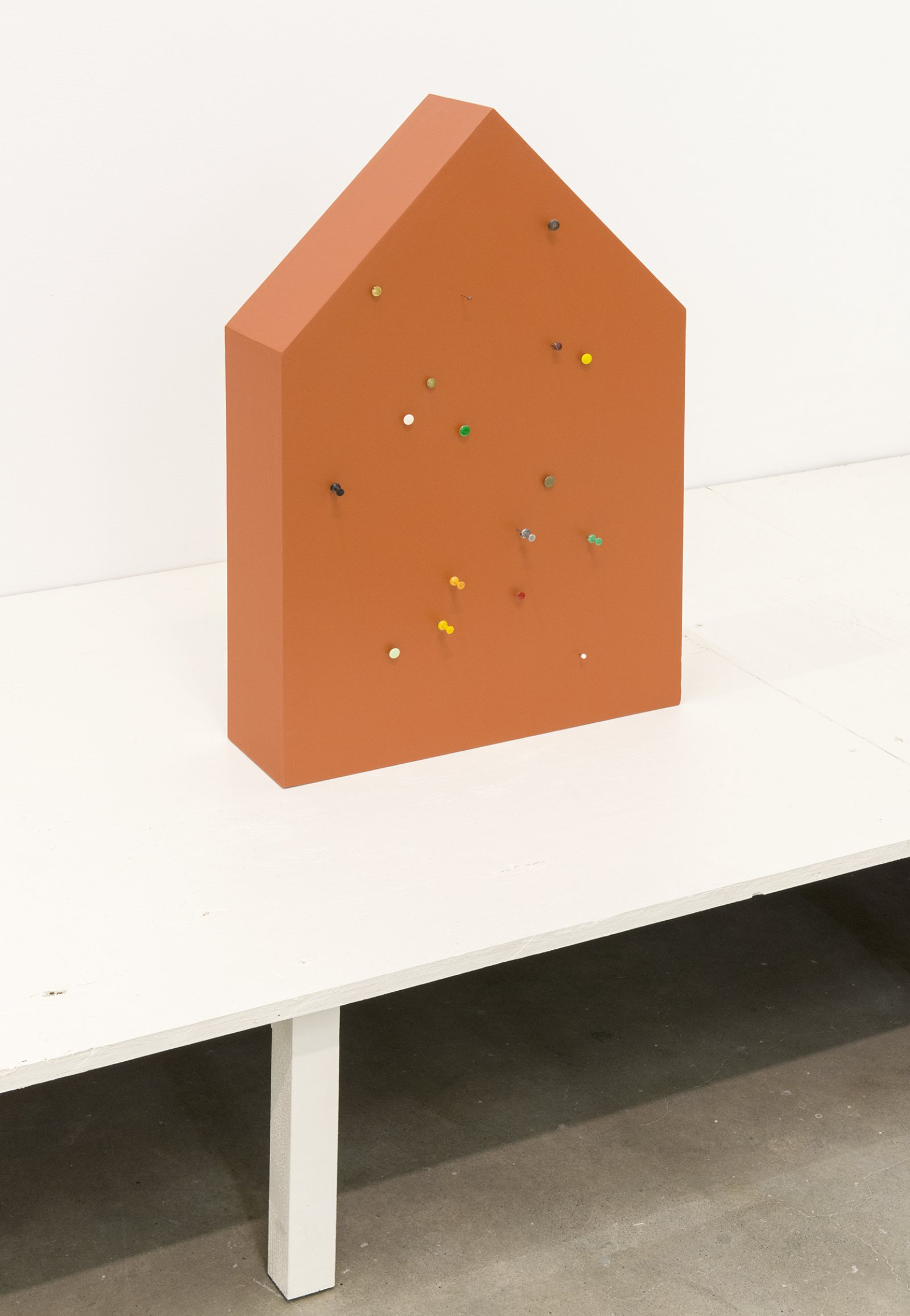 Gareth Moore, WP-01 PP, 2013, wood, paint, push pins, 24 x 16 x 5 in. (61 x 41 x 12 cm)   by Ashes Withyman