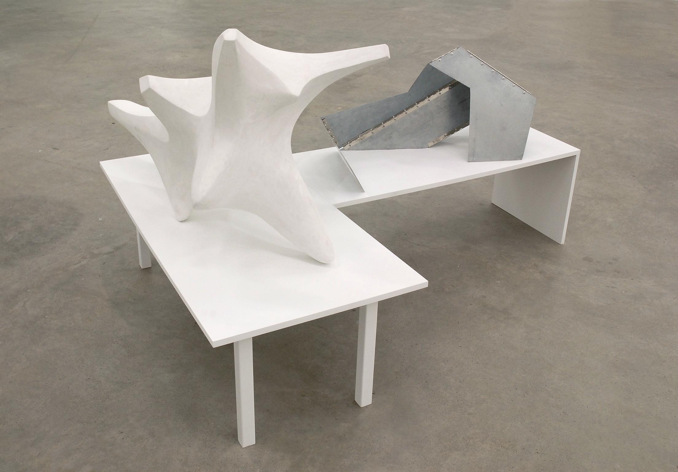 Damian Moppett, Figure In Transition, 2007–2008, plaster, steel, wood, 45 x 67 x 48 in. (114 x 170 x 122 cm) by