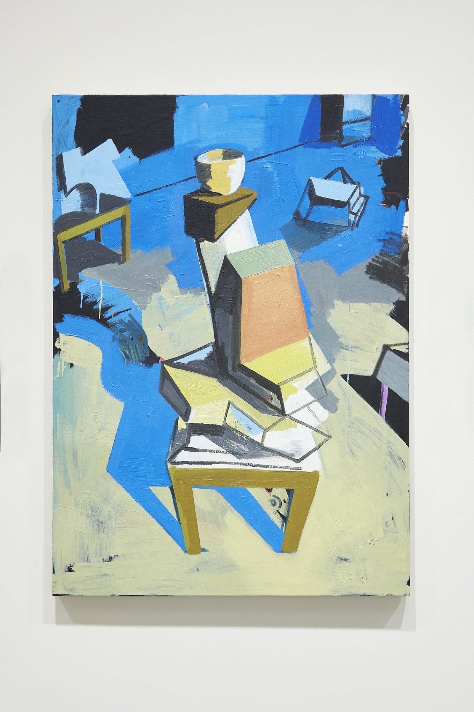 Damian Moppett, Abstract Acrobat in Blue Studio, 2008, oil on linen, 42 x 30 in. (107 x 76 cm). Installation view, Every Story Has Two Sides, Art Gallery of Alberta, Edmonton, 2016 by Damian Moppett