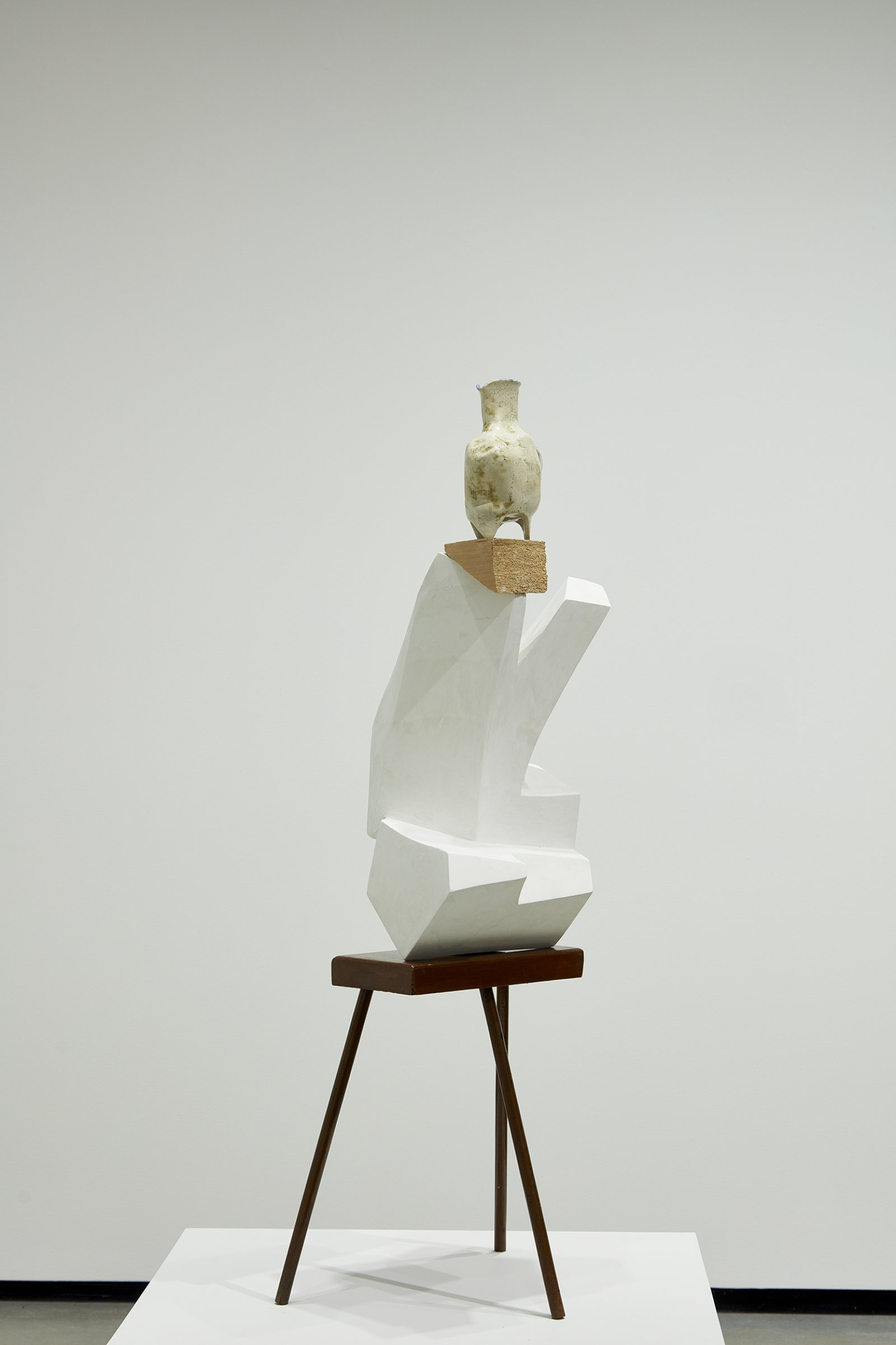 Damian Moppett, Abstracted Acrobat, 2011, plaster, stoneware, styrofoam, wood, 54 x 18 x 13 in. (137 x 46 x 33 cm). Installation view, Every Story Has Two Sides, Art Gallery of Alberta, Edmonton, 2016 by Damian Moppett