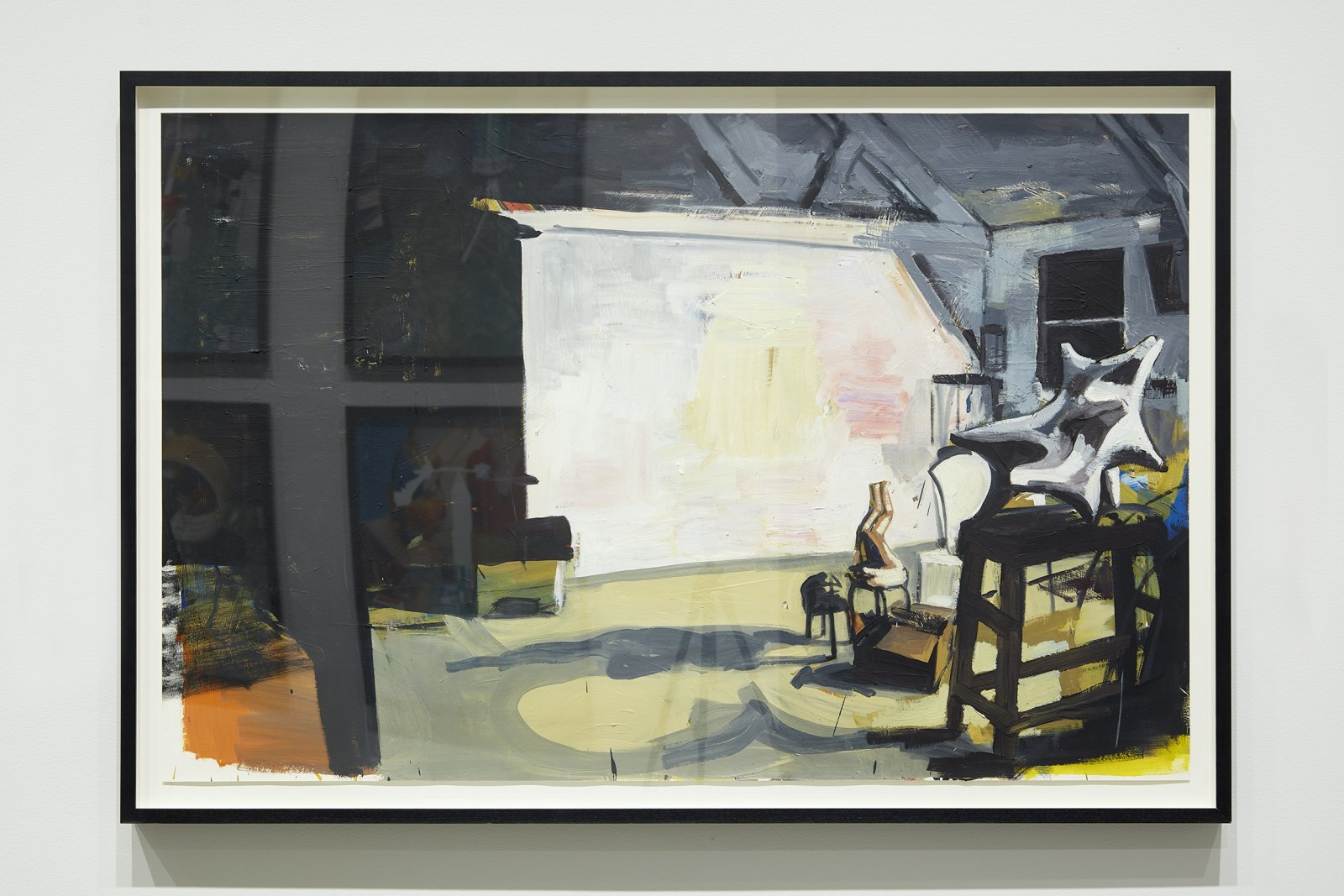Damian Moppett, Acrobat and Plaster Sculpture in Studio, 2007, oil on paper, 41 x 60 in. (103 x 152 cm). Installation view, Every Story Has Two Sides, Art Gallery of Alberta, Edmonton, 2016 by Damian Moppett