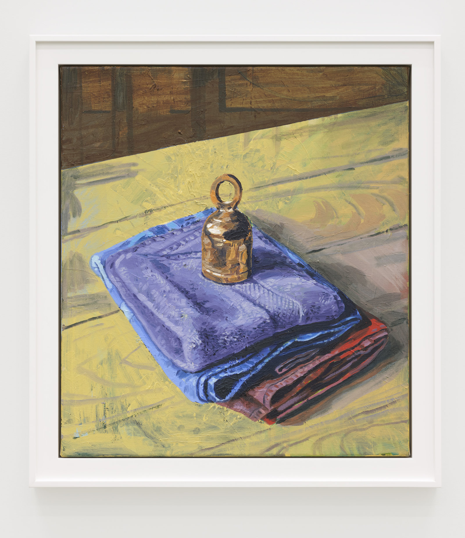 Damian Moppett, Bell and Towels, 2020, oil on canvas, 30 x 27 in. (76 x 69 cm) by Damian Moppett