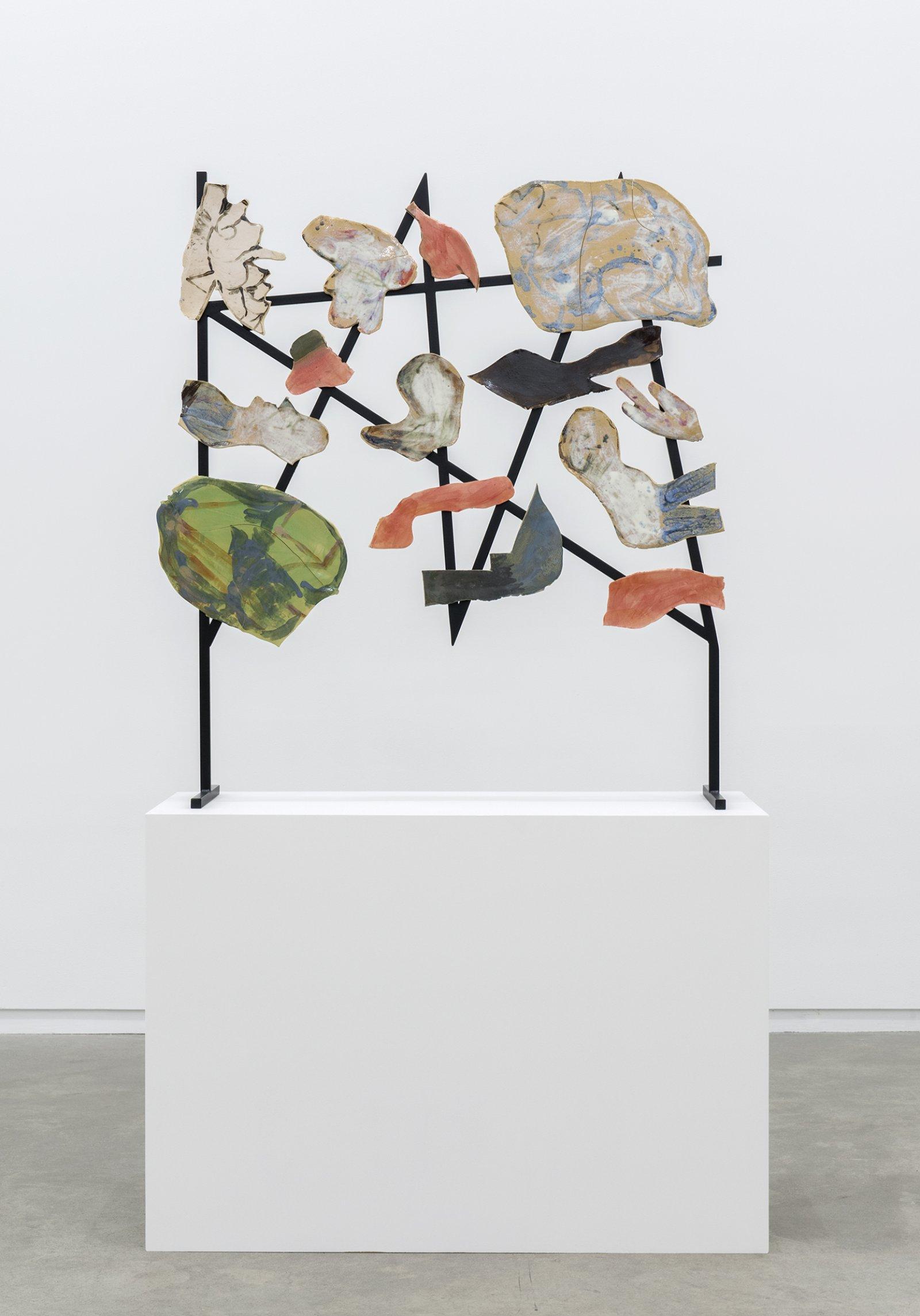 Damian Moppett, Bells of Hell after R.B. Kitaj, 2013, steel, stoneware, 78 x 46 x 18 in. (198 x 117 x 46 cm)   by Damian Moppett