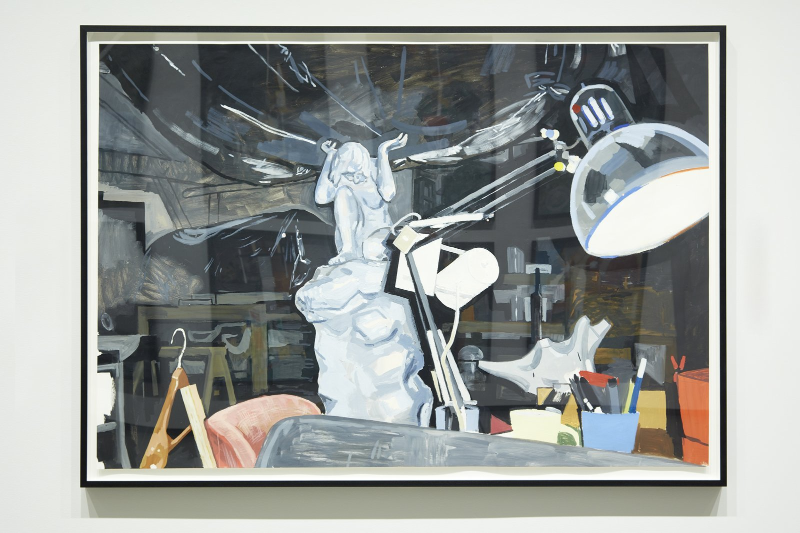 Damian Moppett, Caryatid, Lamp and Sofa in Studio, 2006, oil on paper, 58 x 81 in. (147 x 206 cm). Installation view, Every Story Has Two Sides, Art Gallery of Alberta, Edmonton, 2016 by Damian Moppett