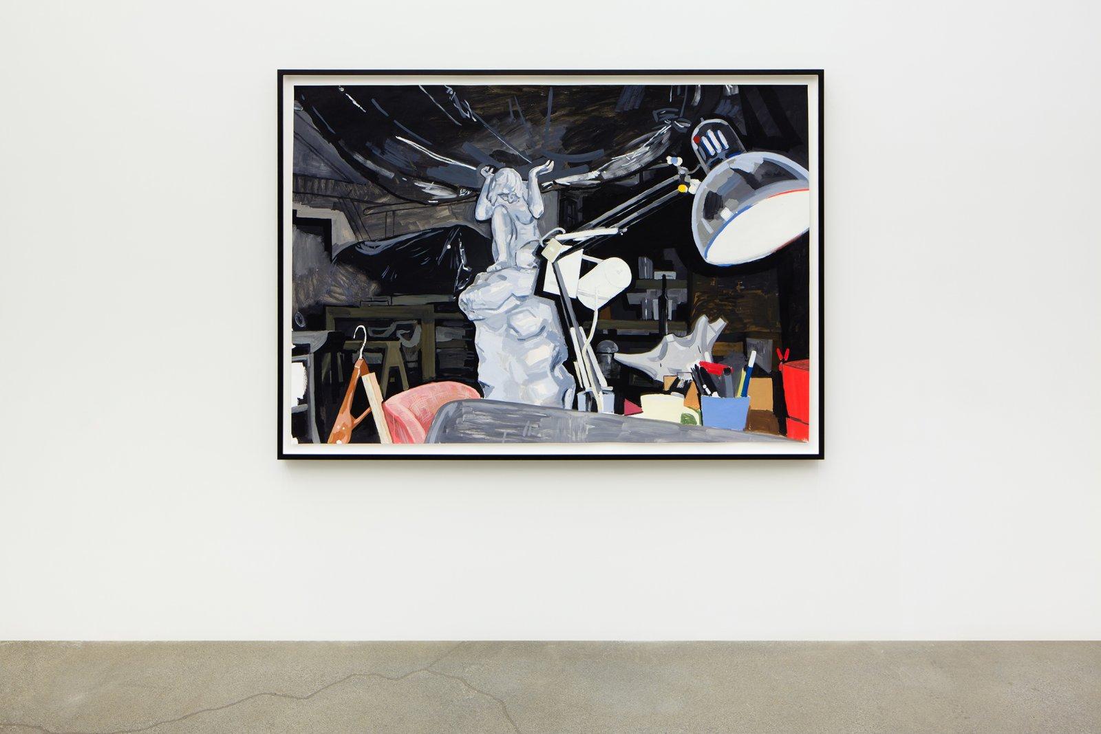 Damian Moppett, Caryatid, Lamp and Sofa in Studio, 2006, oil on paper, 58 x 81 in. (147 x 206 cm) by Damian Moppett