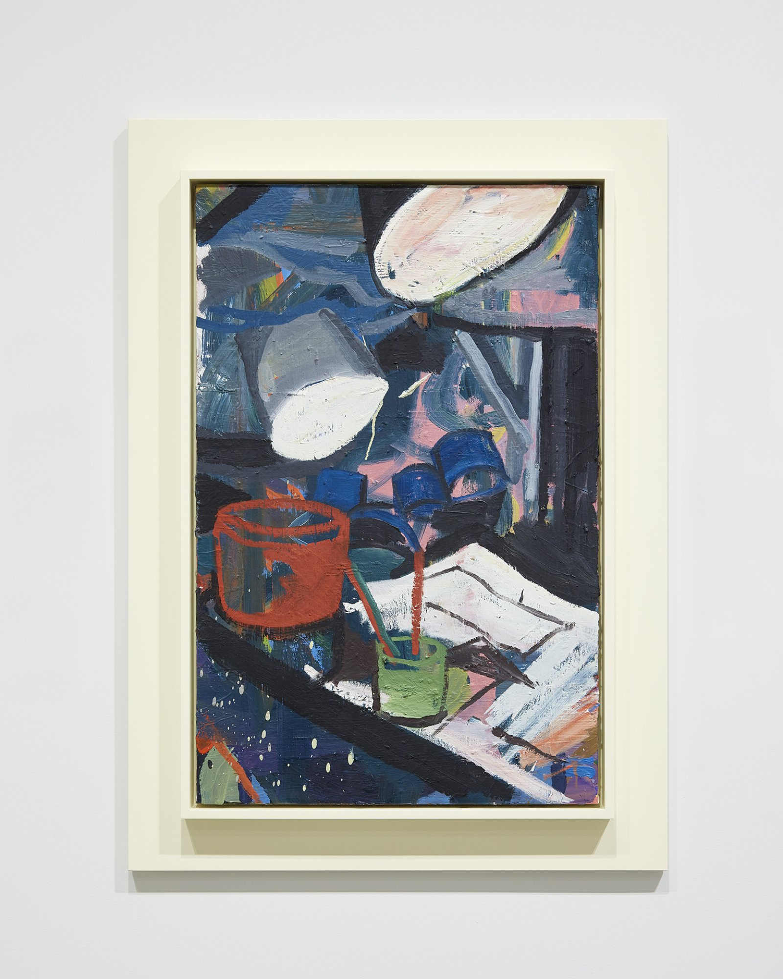 Damian Moppett, Dark Lights in Studio, 2010, oil on linen and wood frame, 41 x 30 in. (104 x 75 cm). Installation view, Every Story Has Two Sides, Art Gallery of Alberta, Edmonton, 2016 by Damian Moppett