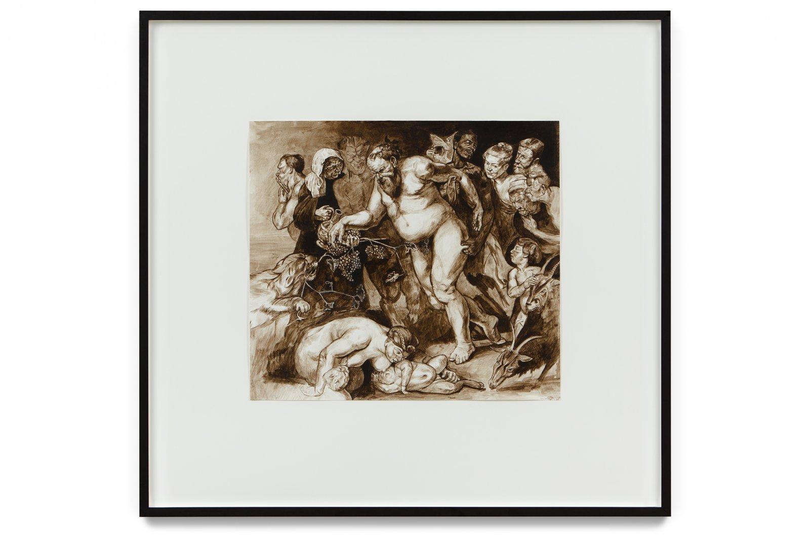 Damian Moppett, Drunken Silenius (After Rubens), 2002, oil on paper, 34 x 35 in. (85 x 89 cm) by Damian Moppett