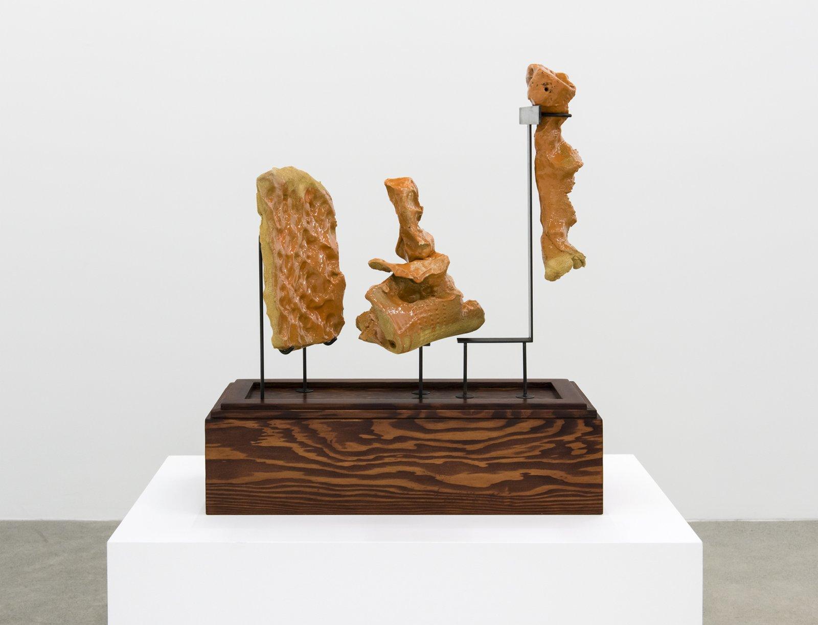 Damian Moppett, Early One Morning Sketch, 2016, glazed stoneware, wood, steel, 24 x 20 x 9 in. (60 x 51 x 23 cm) by Damian Moppett