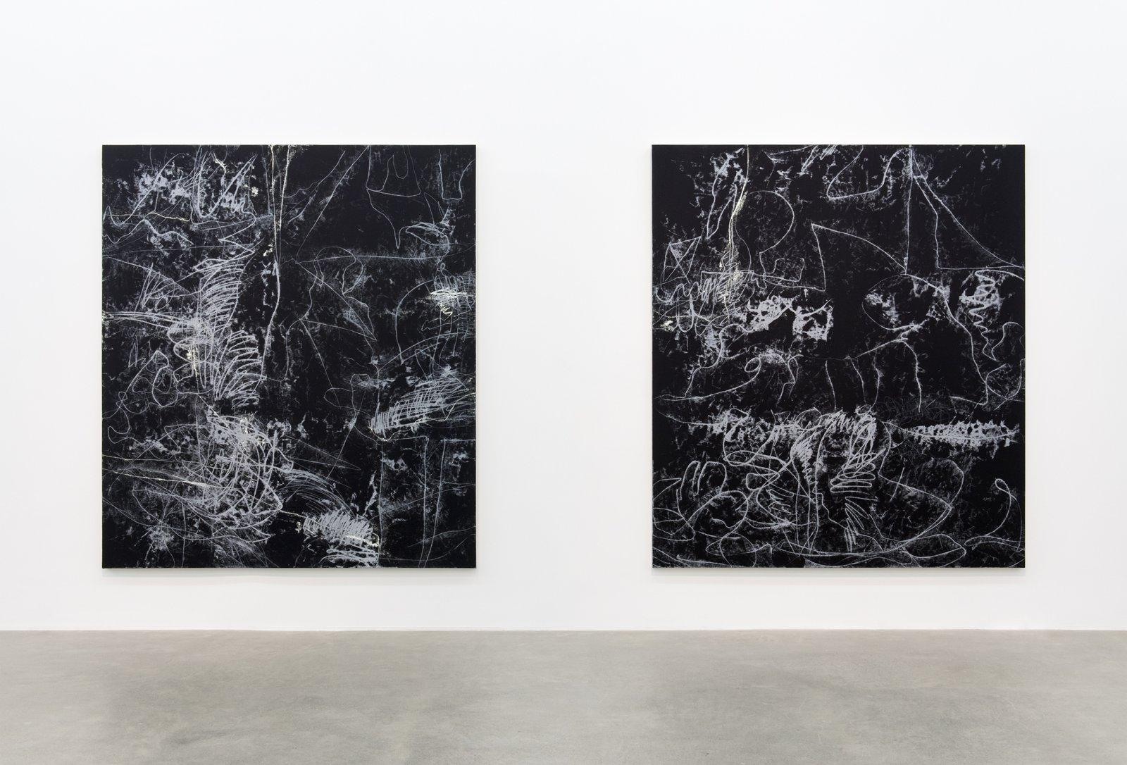 Damian Moppett, Figure Ground I, Figure Ground II, 2016, oil on canvas, each 84 x 74 in. (213 x 188 cm) by Damian Moppett