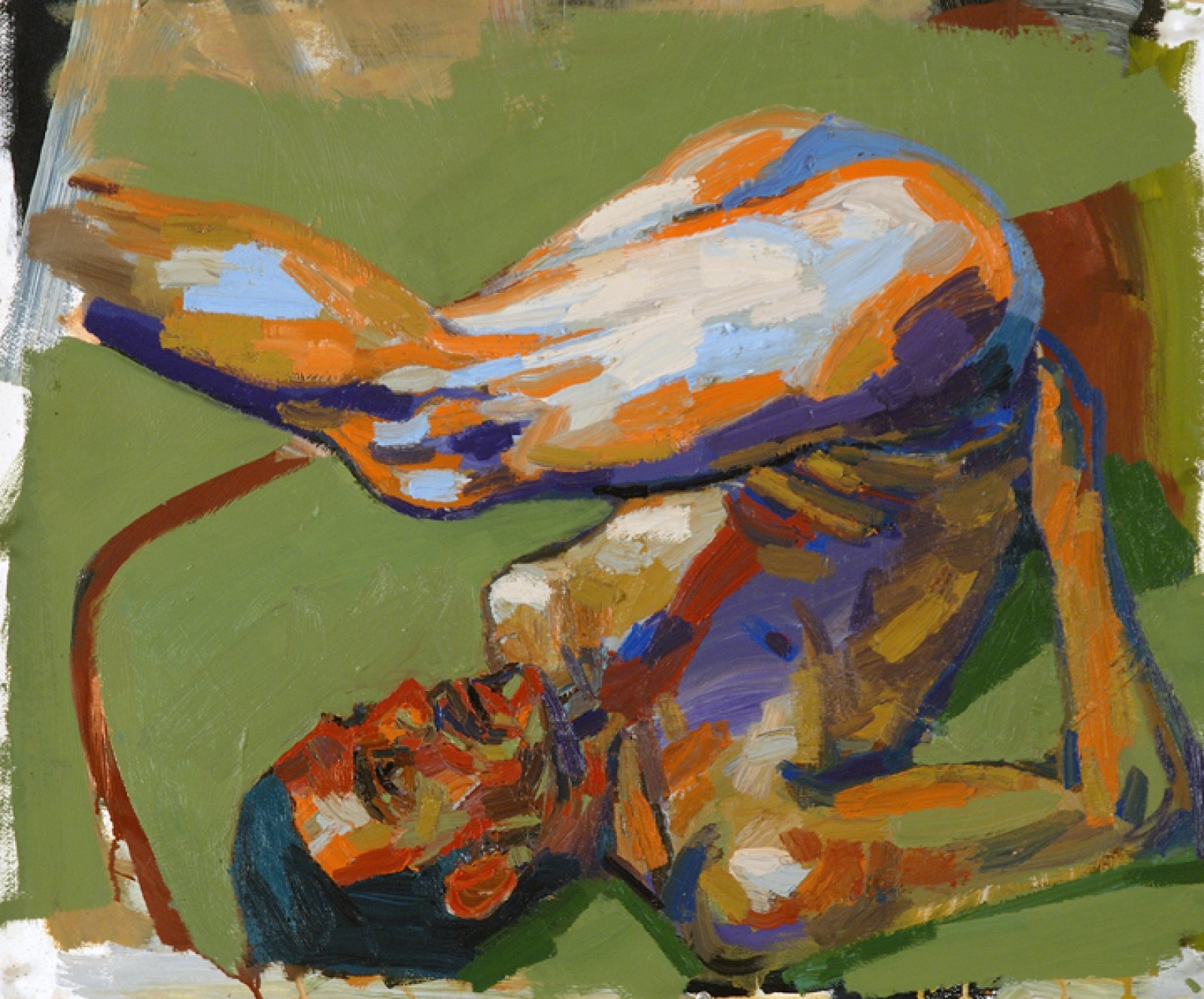 Damian Moppett, Figure Study for Acrobat, 2006, oil on paper, 28 x 33 in. (70 x 84 cm) by Damian Moppett