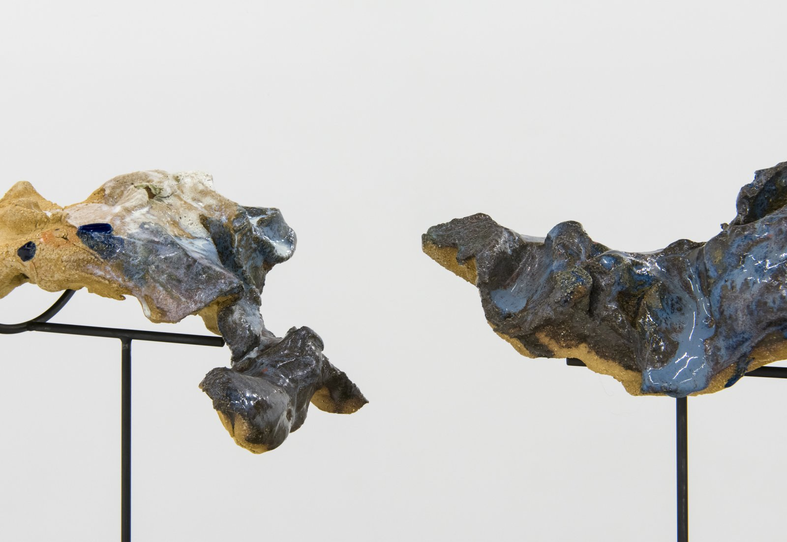 Damian Moppett, Figure in Two (detail), 2016, glazed stoneware, wood, steel, 15 x 20 x 6 in. (39 x 51 x 16 cm) by Damian Moppett