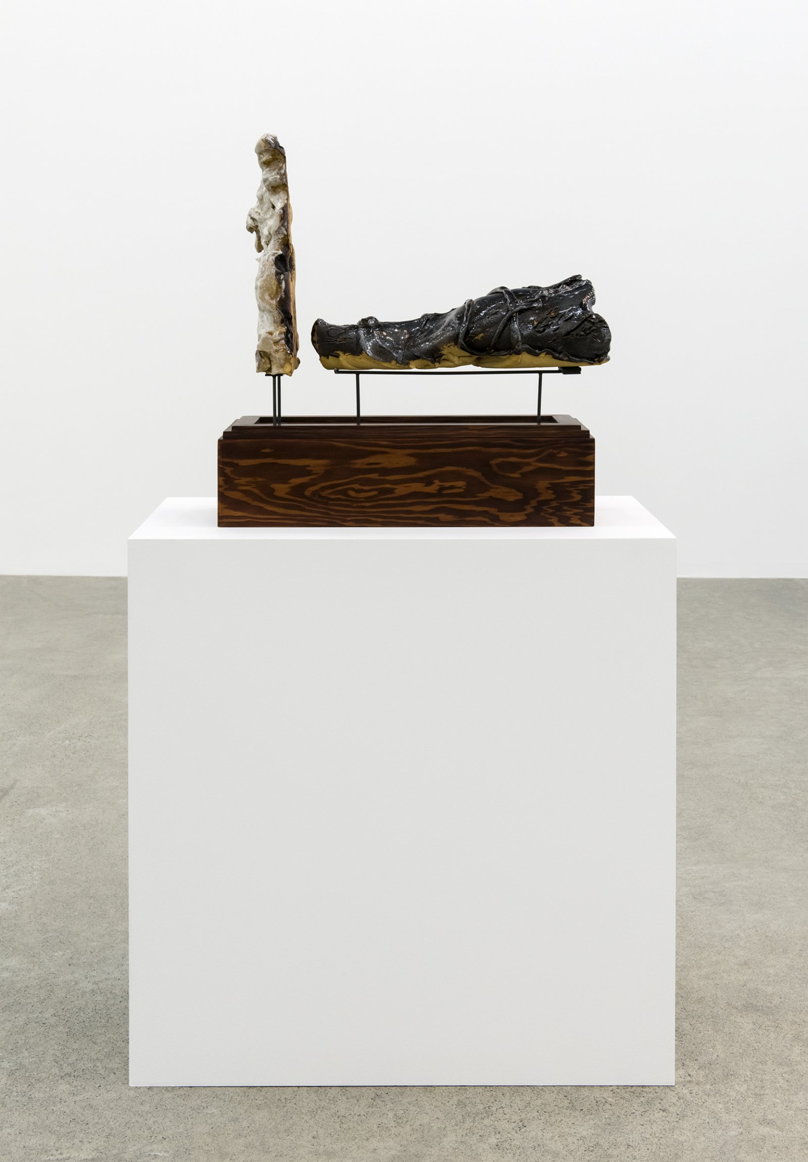 Damian Moppett, Figure with Shadow, 2016, glazed stoneware, wood, steel, 23 x 11 x 21 in. (57 x 27 x 53 cm) by Damian Moppett