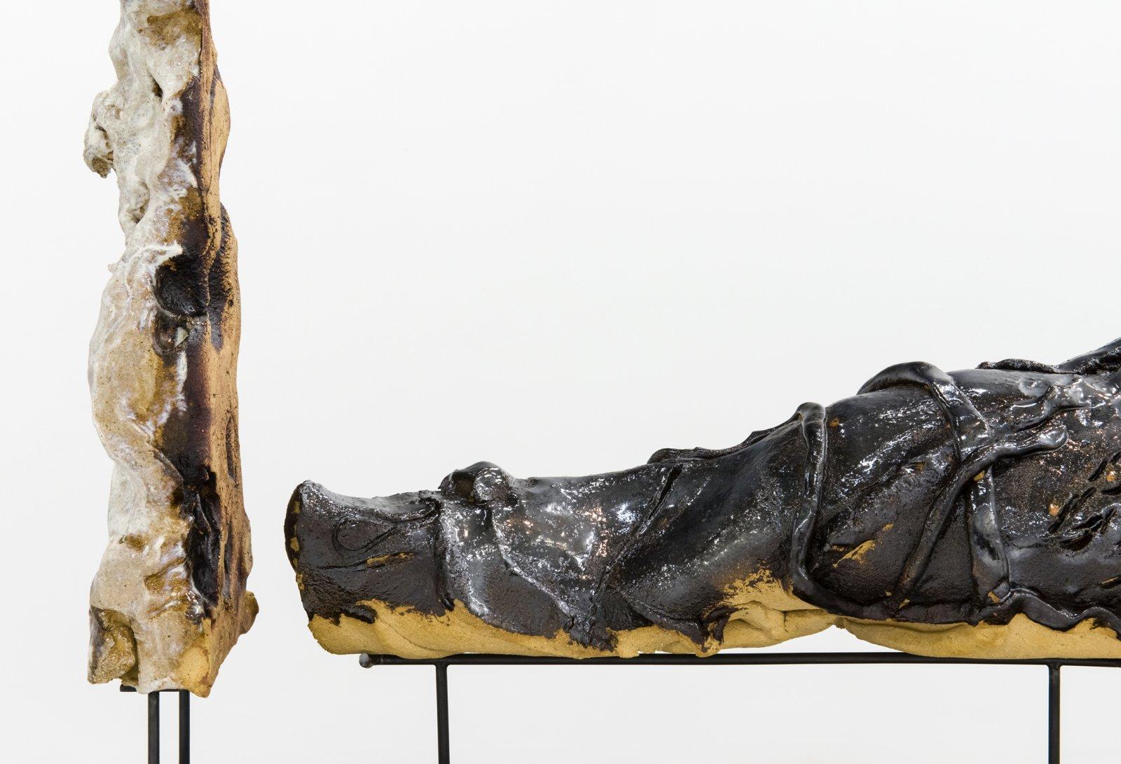 Damian Moppett, Figure with Shadow (detail), 2016, glazed stoneware, wood, steel, 23 x 11 x 21 in. (57 x 27 x 53 cm) by Damian Moppett