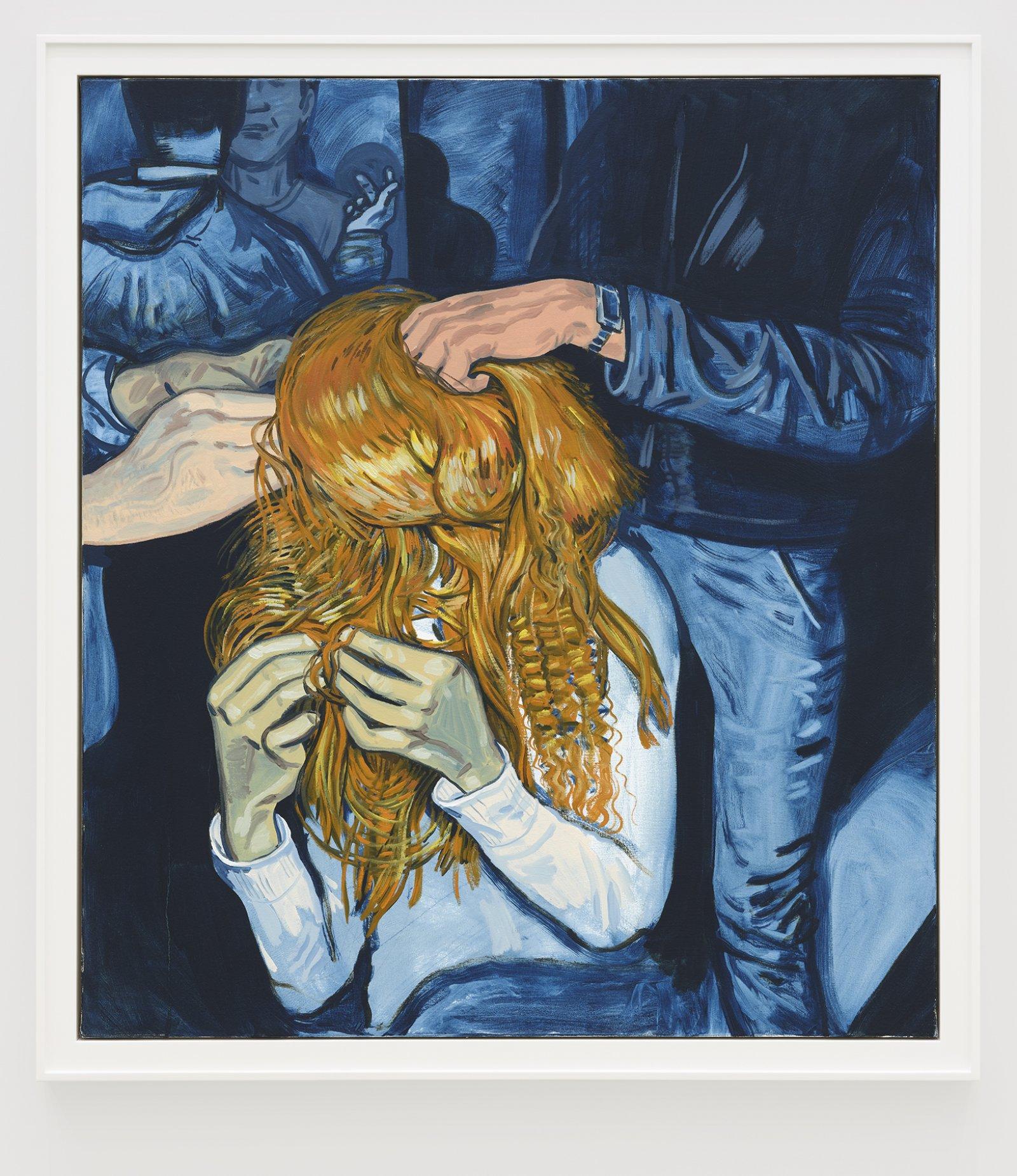 Damian Moppett, Hairdo, 2020, oil on canvas, 51 x 45 in. (128 x 115 cm) by Damian Moppett