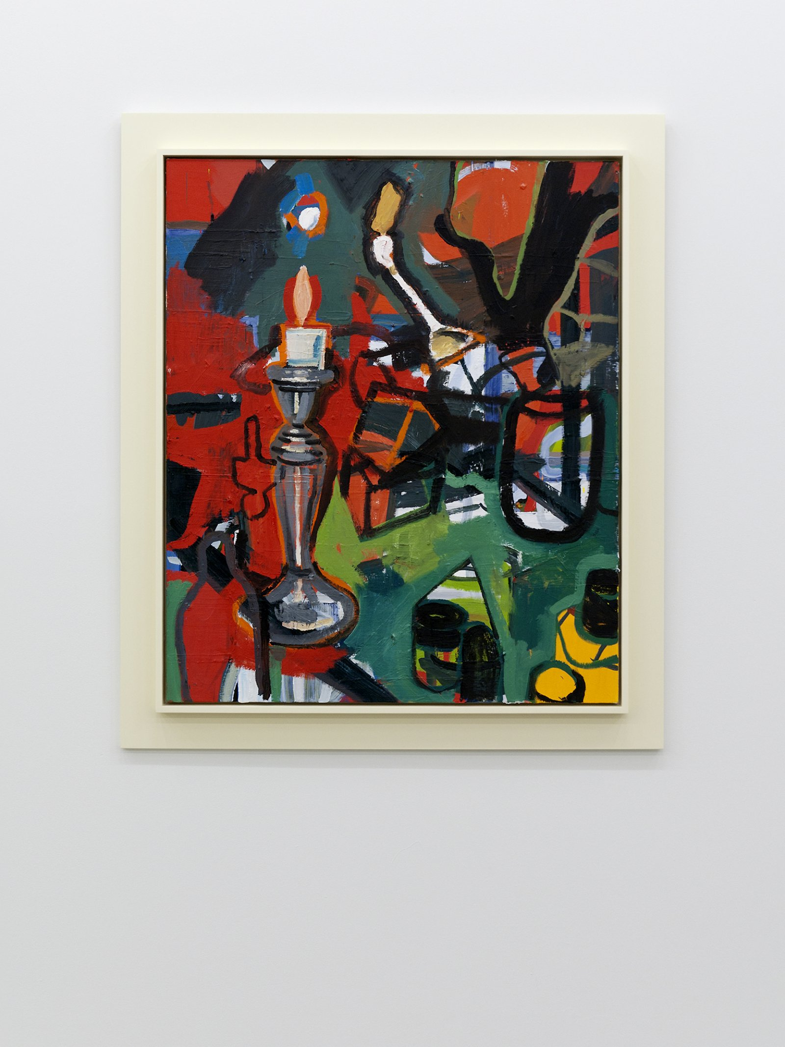 Damian Moppett, Large Red Candle, 2010, oil on canvas and wood frame, 50 x 44 in. (126 x 110 cm) by Damian Moppett