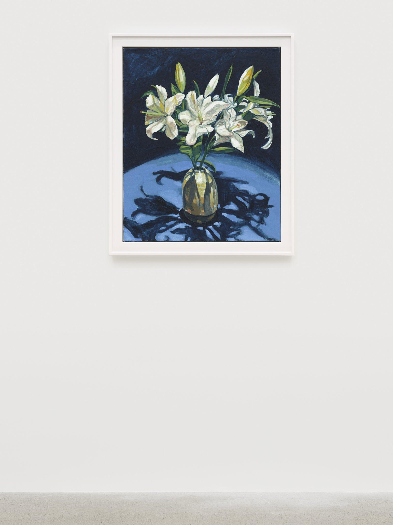 Damian Moppett, Lilies (Indigo), 2020, oil on canvas, 32 x 27 in. (82 x 69 cm) by Damian Moppett