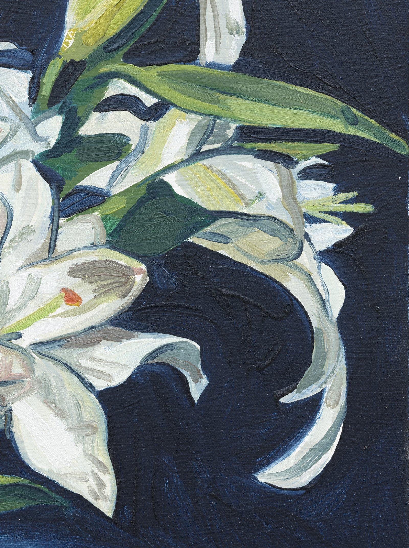 Damian Moppett, Lilies (Indigo) (detail), 2020, oil on canvas, 32 x 27 in. (82 x 69 cm) by Damian Moppett