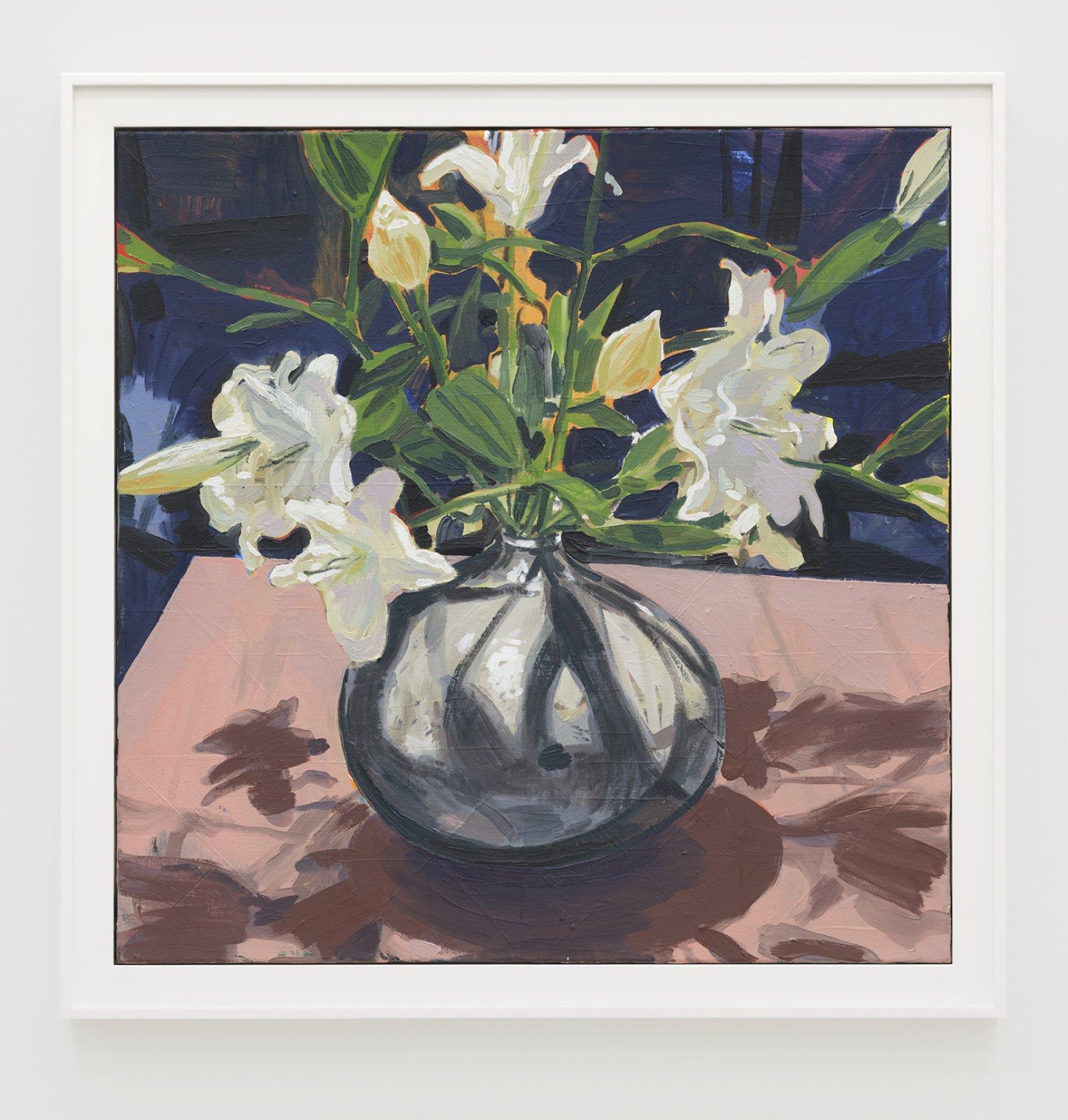 Damian Moppett, Lilies (Pink), 2020, oil on canvas, 34 x 34 in. (86 x 86 cm) by Damian Moppett