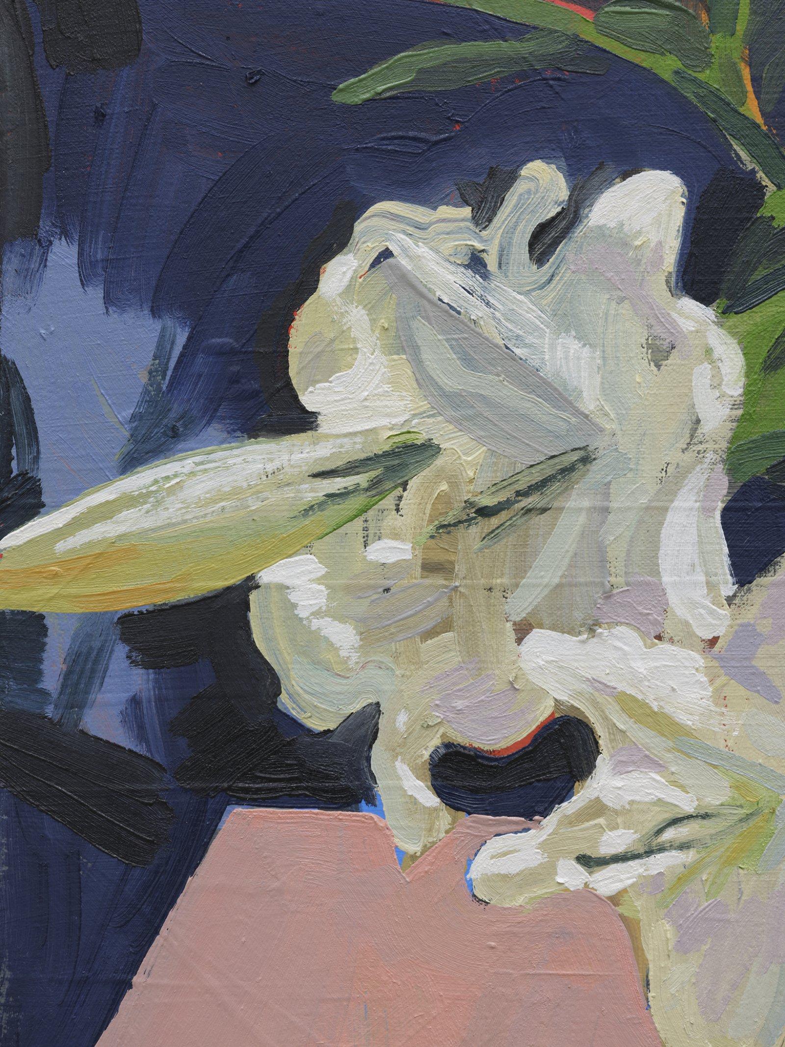 Damian Moppett, Lilies (Pink) (detail), 2020, oil on canvas, 34 x 34 in. (86 x 86 cm) by Damian Moppett