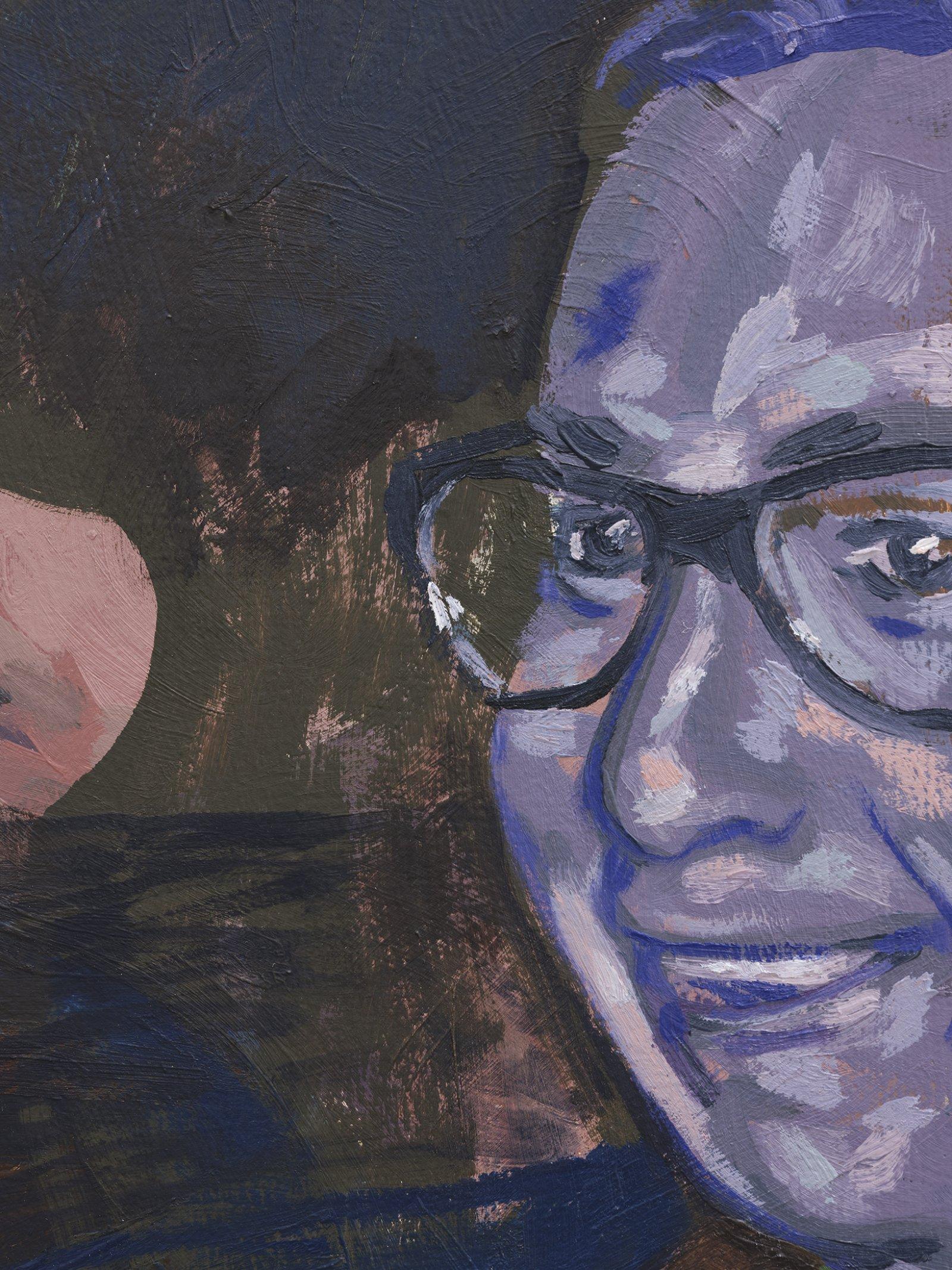 Damian Moppett, Little Blonde Head (detail), 2020, oil on canvas, 32 x 27 in. (81 x 69 cm) by Damian Moppett