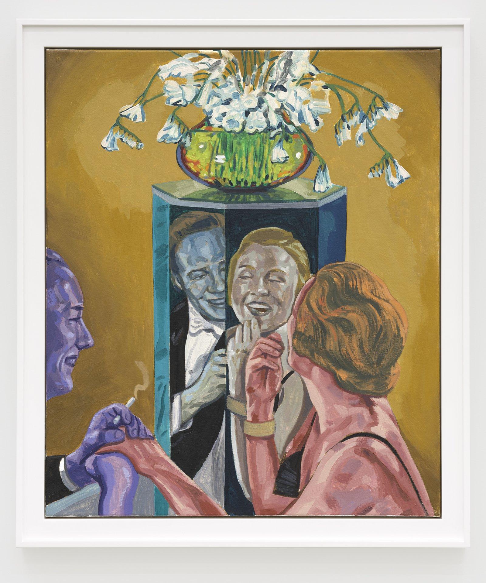 Damian Moppett, Man and Woman in Mirror, 2020, oil on canvas, 36 x 31 in. (92 x 79 cm) by Damian Moppett