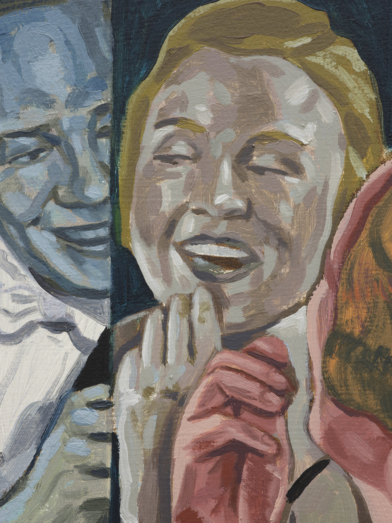 Damian Moppett, Man and Woman in Mirror (detail), 2020, oil on canvas, 36 x 31 in. (92 x 79 cm) by Damian Moppett