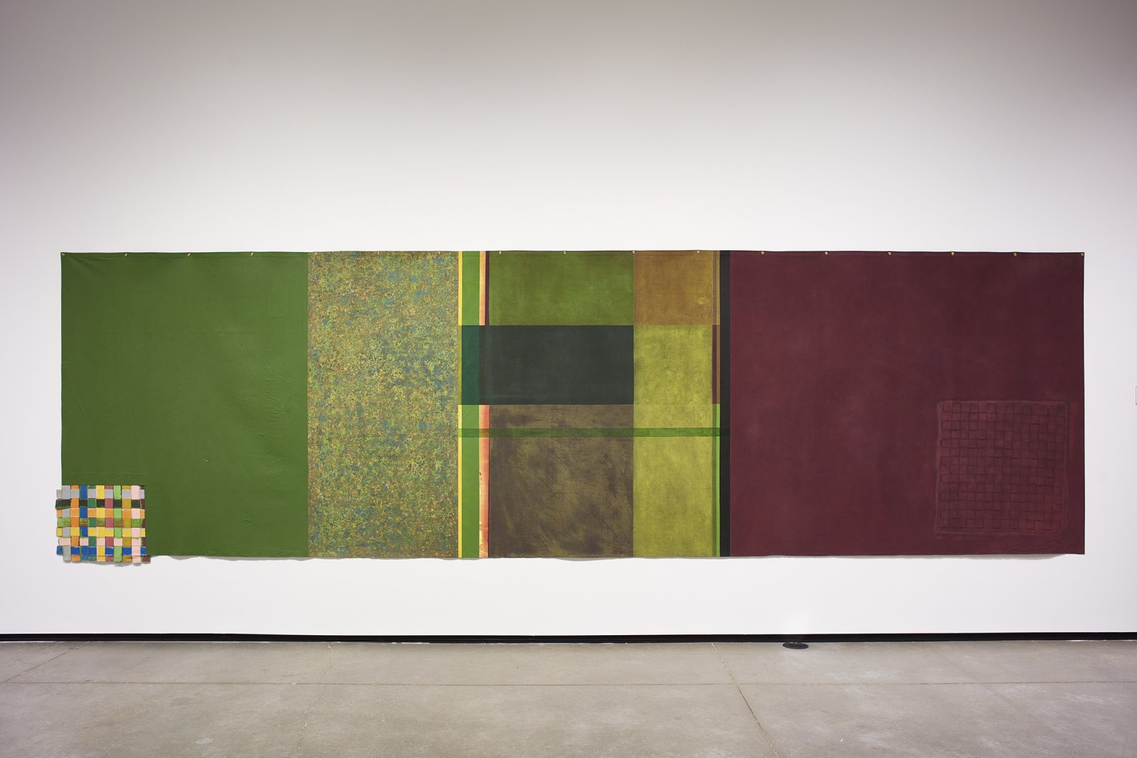 Ron Moppett, Bilberry Return, 1972, acrylic on canvas, 71 x 237 in. (180 x 602 cm). Installation view, Every Story Has Two Sides, Art Gallery of Alberta, Edmonton, 2016 by Damian Moppett