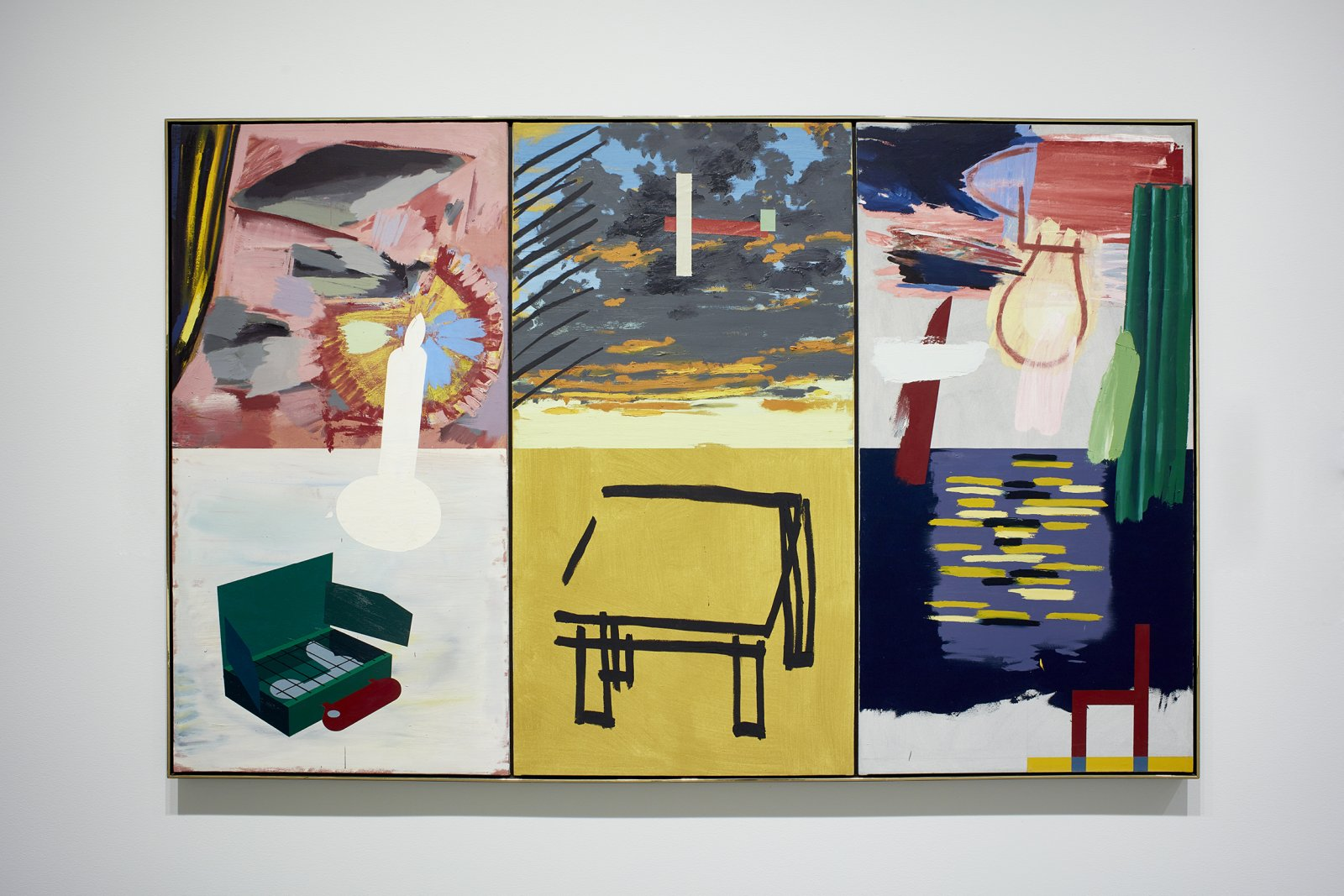 Ron Moppett, Studio/Light 3, 1981, oil on canvas, 59 x 94 in. (152 x 238 cm). Installation view, Every Story Has Two Sides, Art Gallery of Alberta, Edmonton, 2016 by Damian Moppett