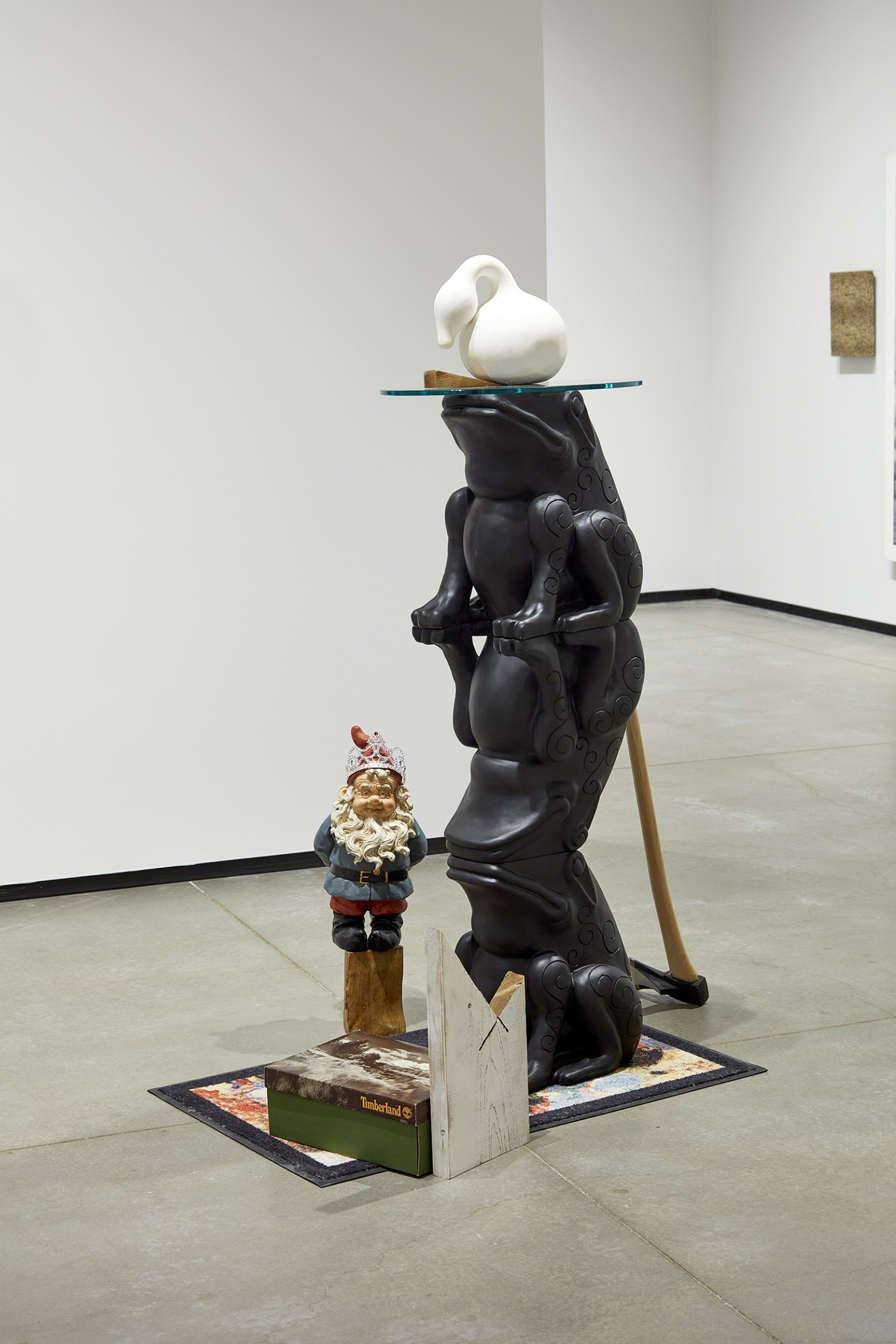 Ron Moppett, Sculptor Timberland, 2008, mixed media, 23 x 47 x 32 in. (158 x 119 x 81 cm). Installation view, Every Story Has Two Sides, Art Gallery of Alberta, Edmonton, 2016 by Damian Moppett