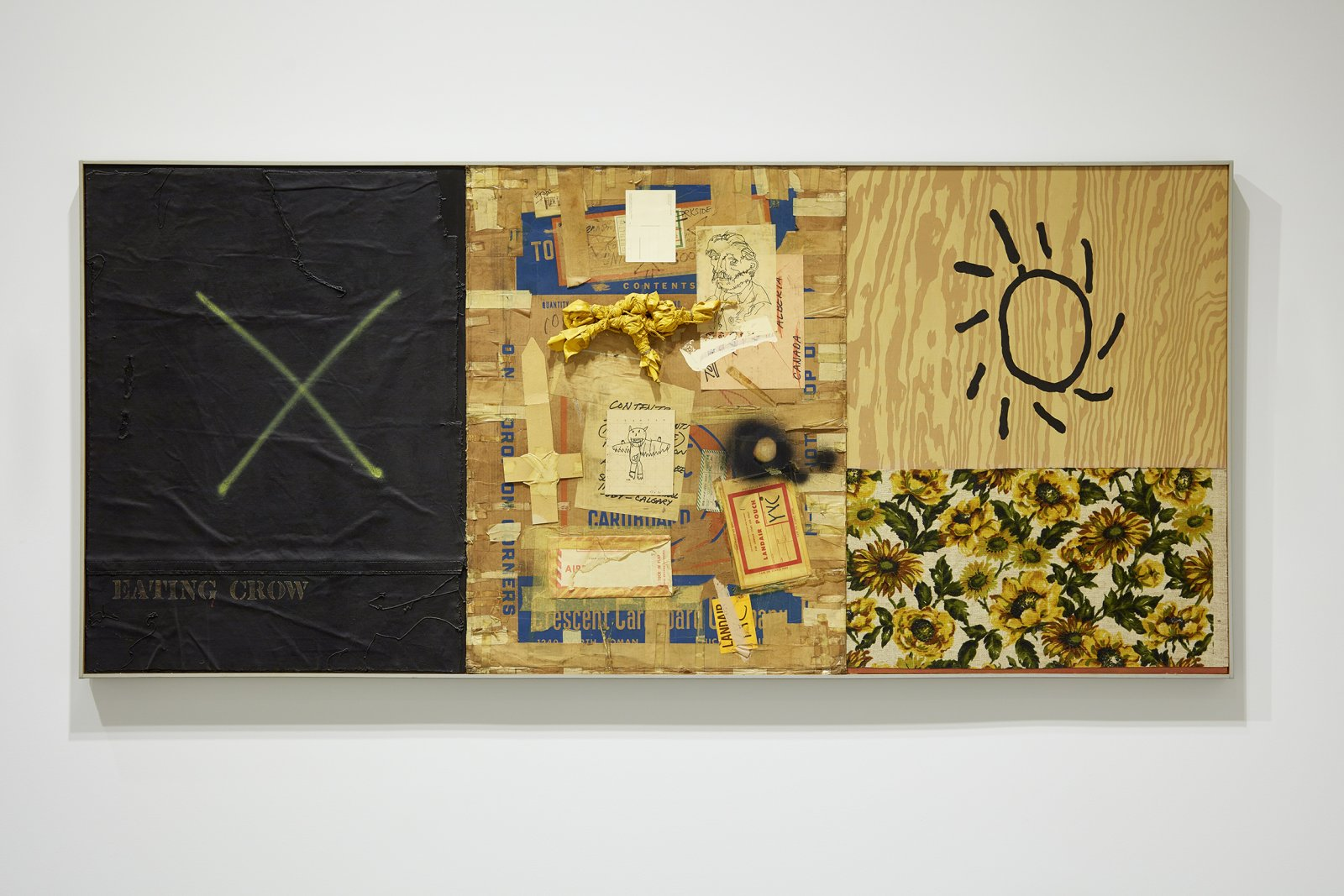 Ron Moppett, Eating Crow, 1976, mixed media on canvas, 41 x 93 in. (105 x 237 cm). Installation view, Every Story Has Two Sides, Art Gallery of Alberta, Edmonton, 2016 by Damian Moppett
