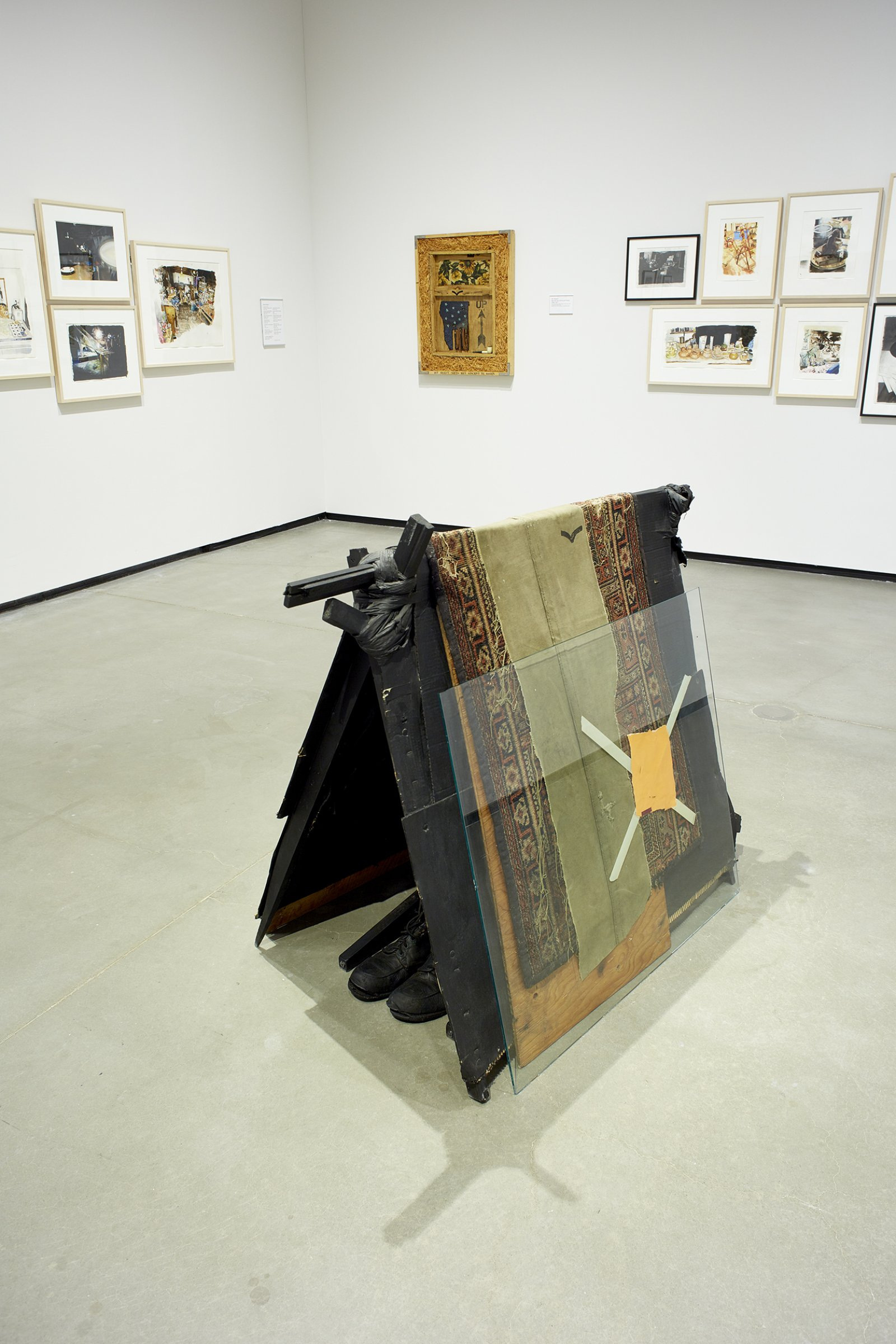 Ron Moppett, For Vincent 1977 (Shelter), 1977, mixed media, 42 x 32 x 50 in. (106 x 82 x 126 cm). Installation view, Every Story Has Two Sides, Art Gallery of Alberta, Edmonton, 2016 by Damian Moppett