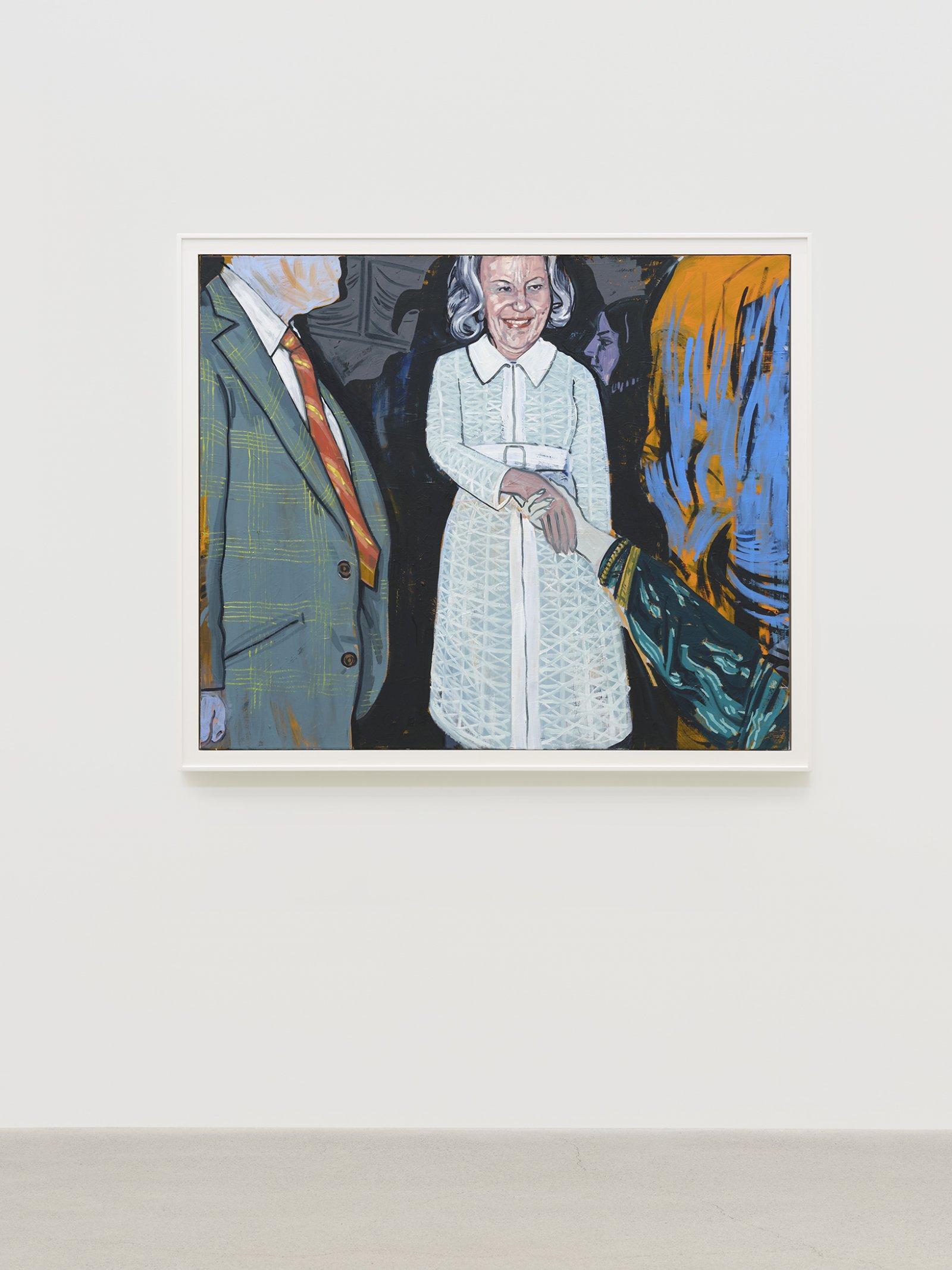 Damian Moppett, Patron (White Dress), 2020, oil on canvas, 50 x 58 in. (126 x 148 cm) by Damian Moppett