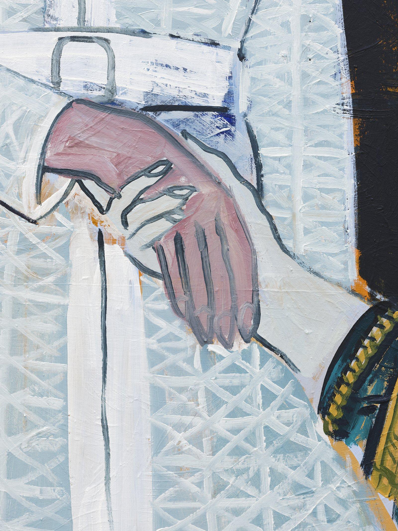 Damian Moppett, Patron (White Dress) (detail), 2020, oil on canvas, 50 x 58 in. (126 x 148 cm) by Damian Moppett