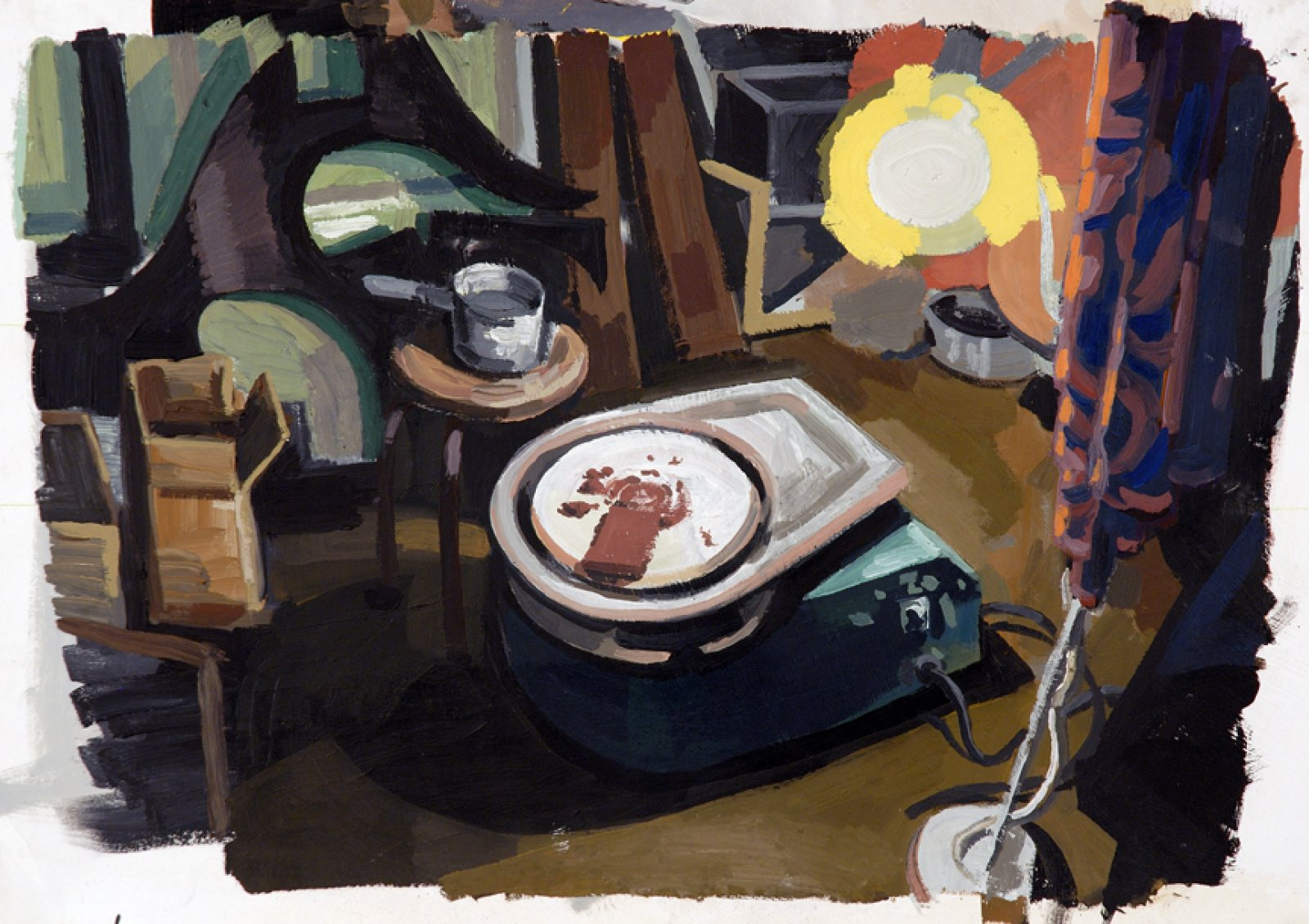 Damian Moppett, Pottery Wheel in Basement, 2006, oil on paper, 26 x 34 in. (66 x 87 cm) by Damian Moppett