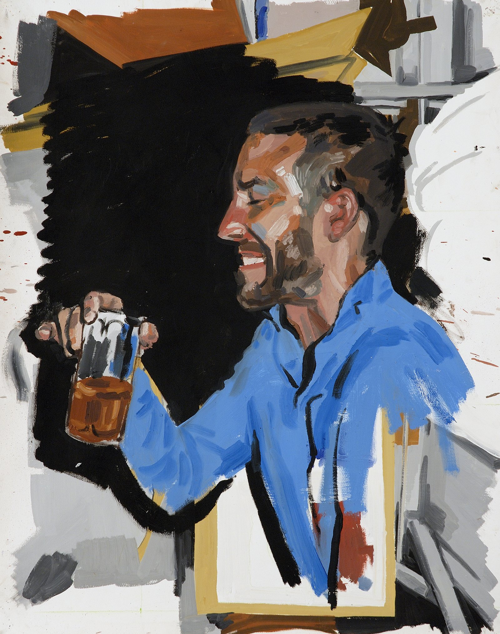 Damian Moppett, Self Portrait Drinking Beer in Dawson City, 2006, oil on paper, 44 x 35 in. (111 x 90 cm) by Damian Moppett