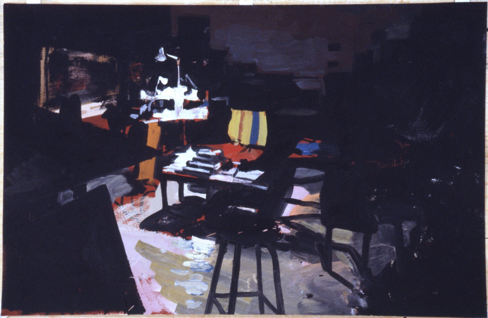 Damian Moppett, Studio at Night, 2006, oil on paper, 28 x 40 in. (71 x 103 cm) by Damian Moppett