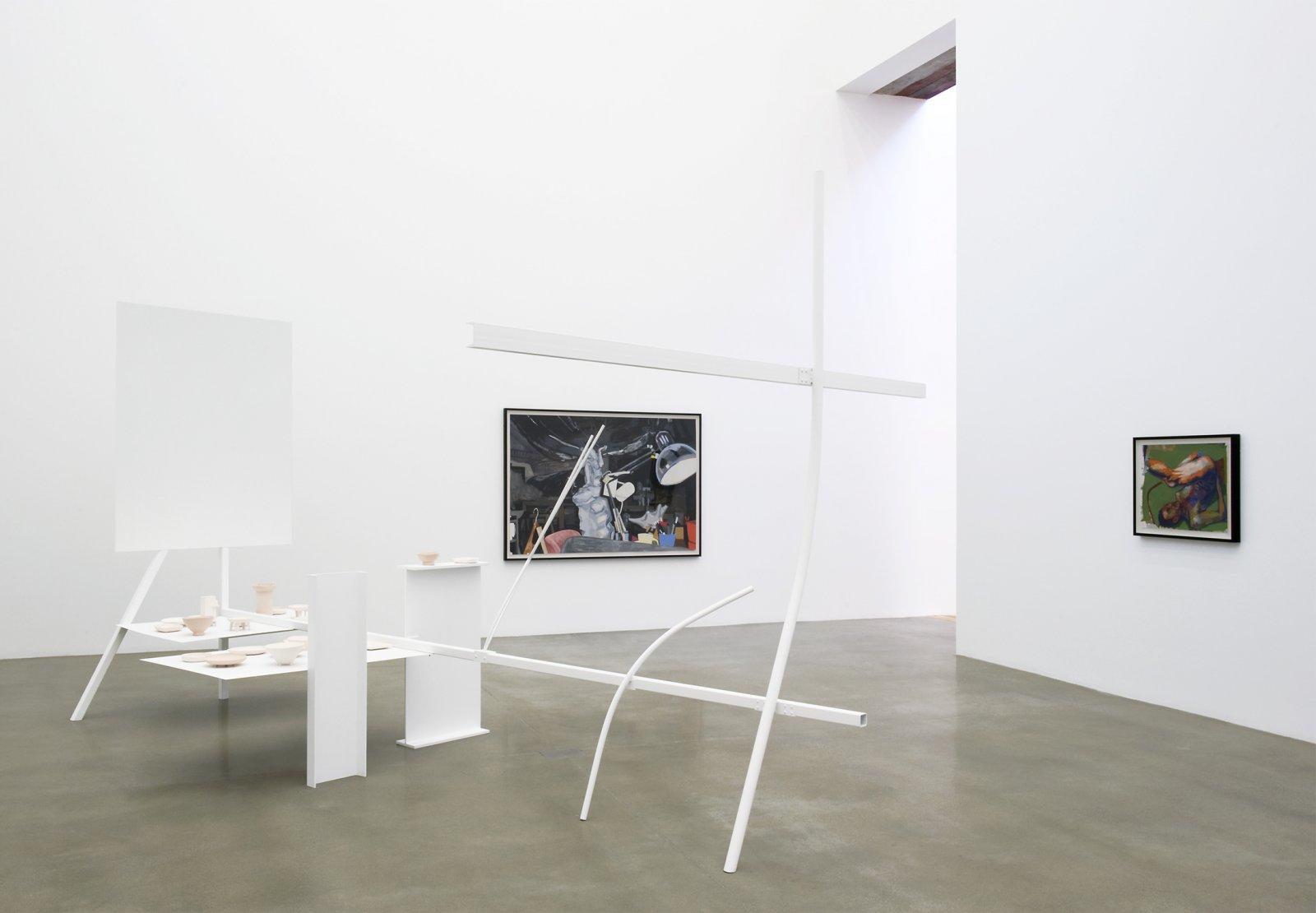 Damian Moppett, Studio at Dawn, 2009, steel, enamel, earthenware, stoneware and glazes, 120 x 124 x 200 in. (305 x 315 x 508 cm). Installation view, Rennie Museum, Vancouver, 2011 by Damian Moppett