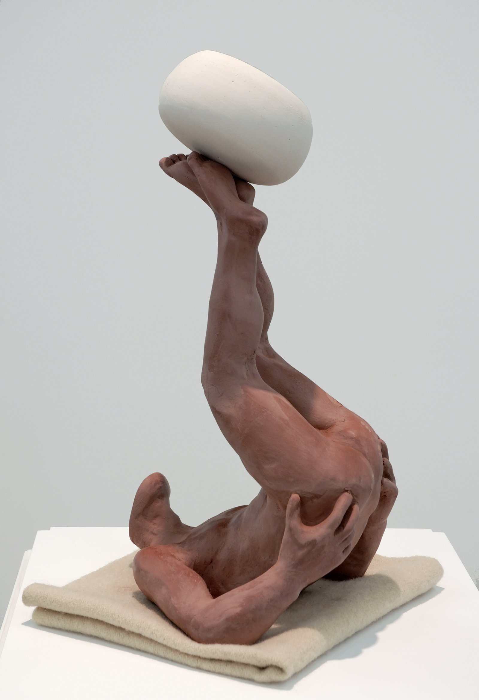 Damian Moppett, The Acrobat, 2006, terracotta bisque, wood, glass, 60 x 16 x 16 in. (152 x 41 x 41 cm) by Damian Moppett